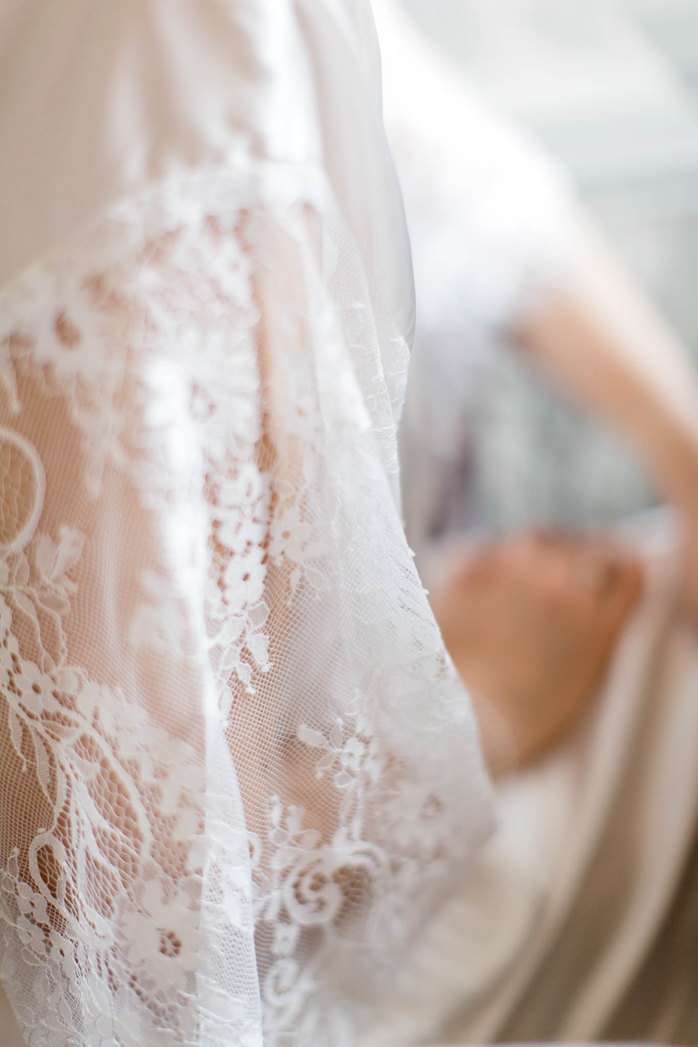 lace detail on bridal dressing gown