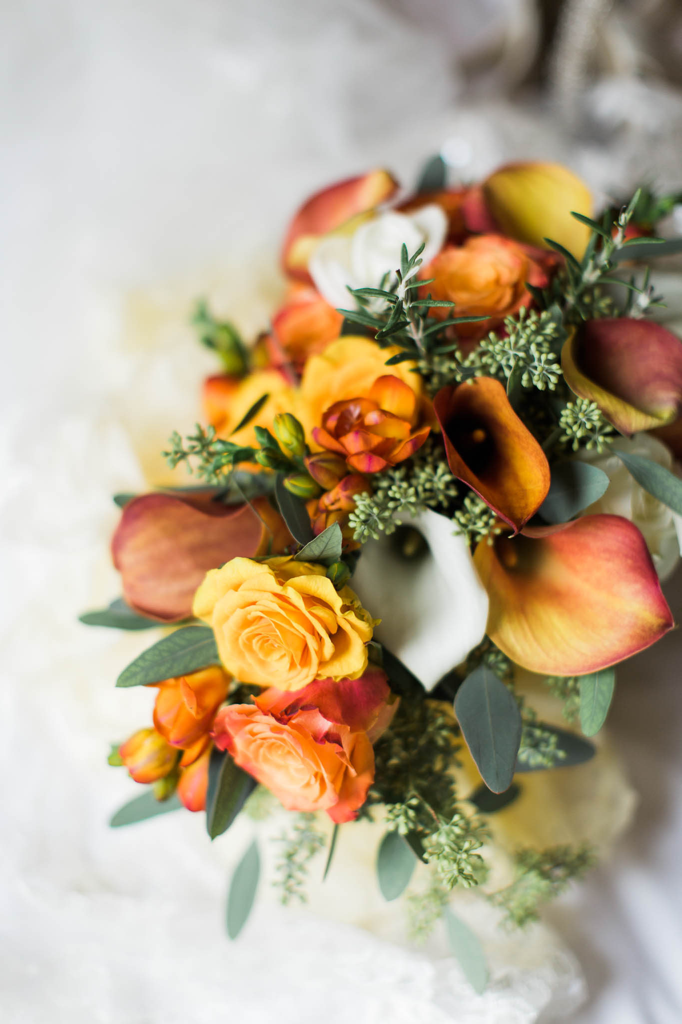 orange and yellow autumn wedding bouquet