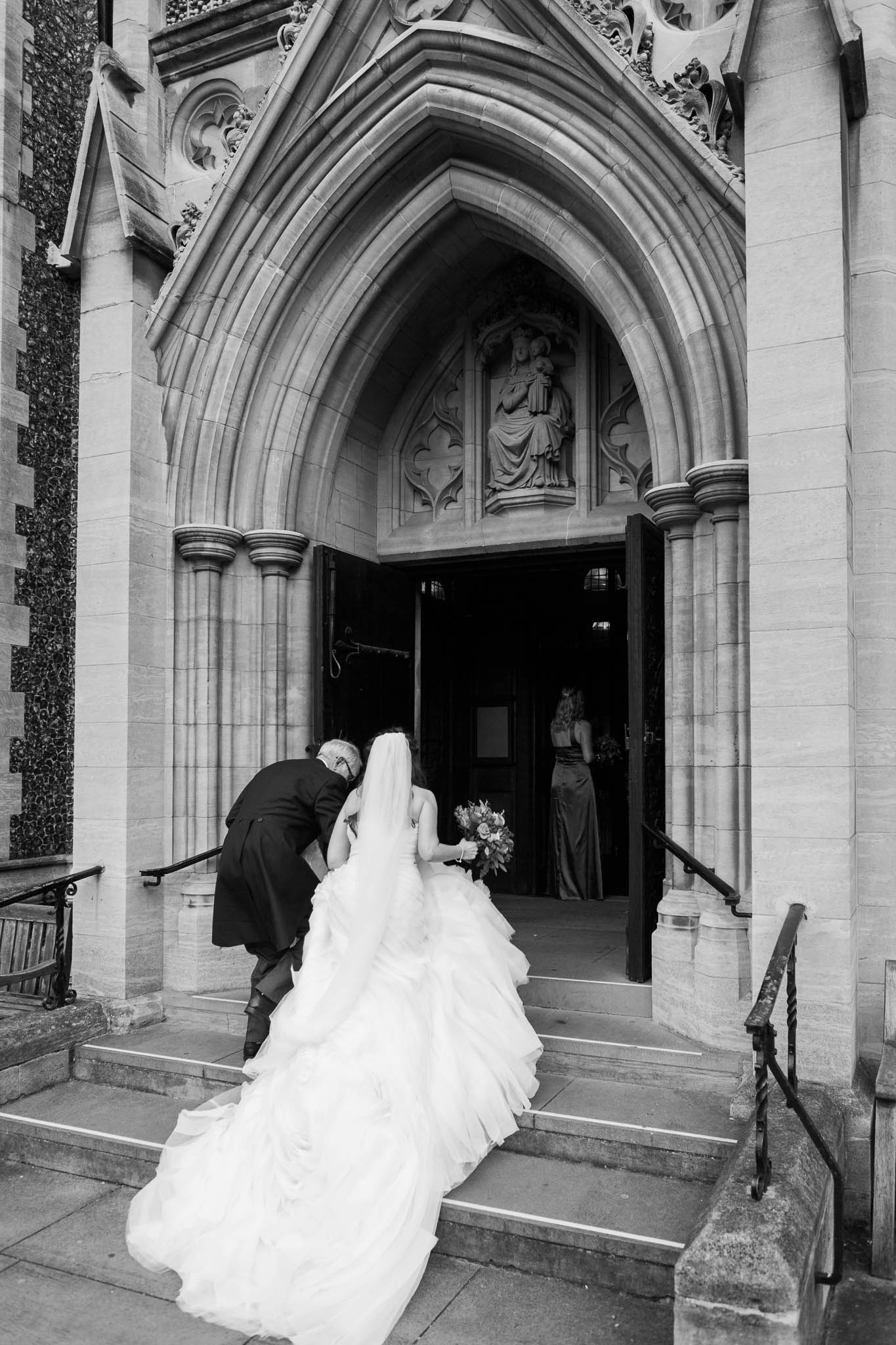 bride and her dad entering the church