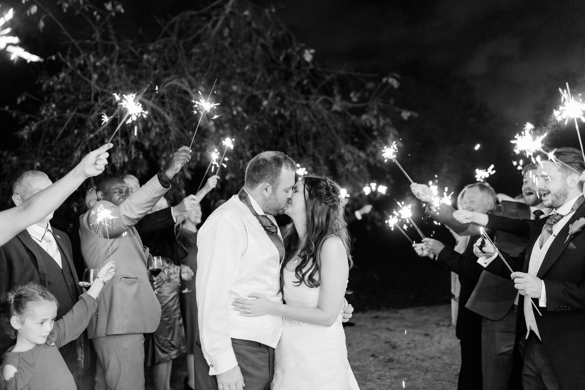sparkler photo at morden hall wedding