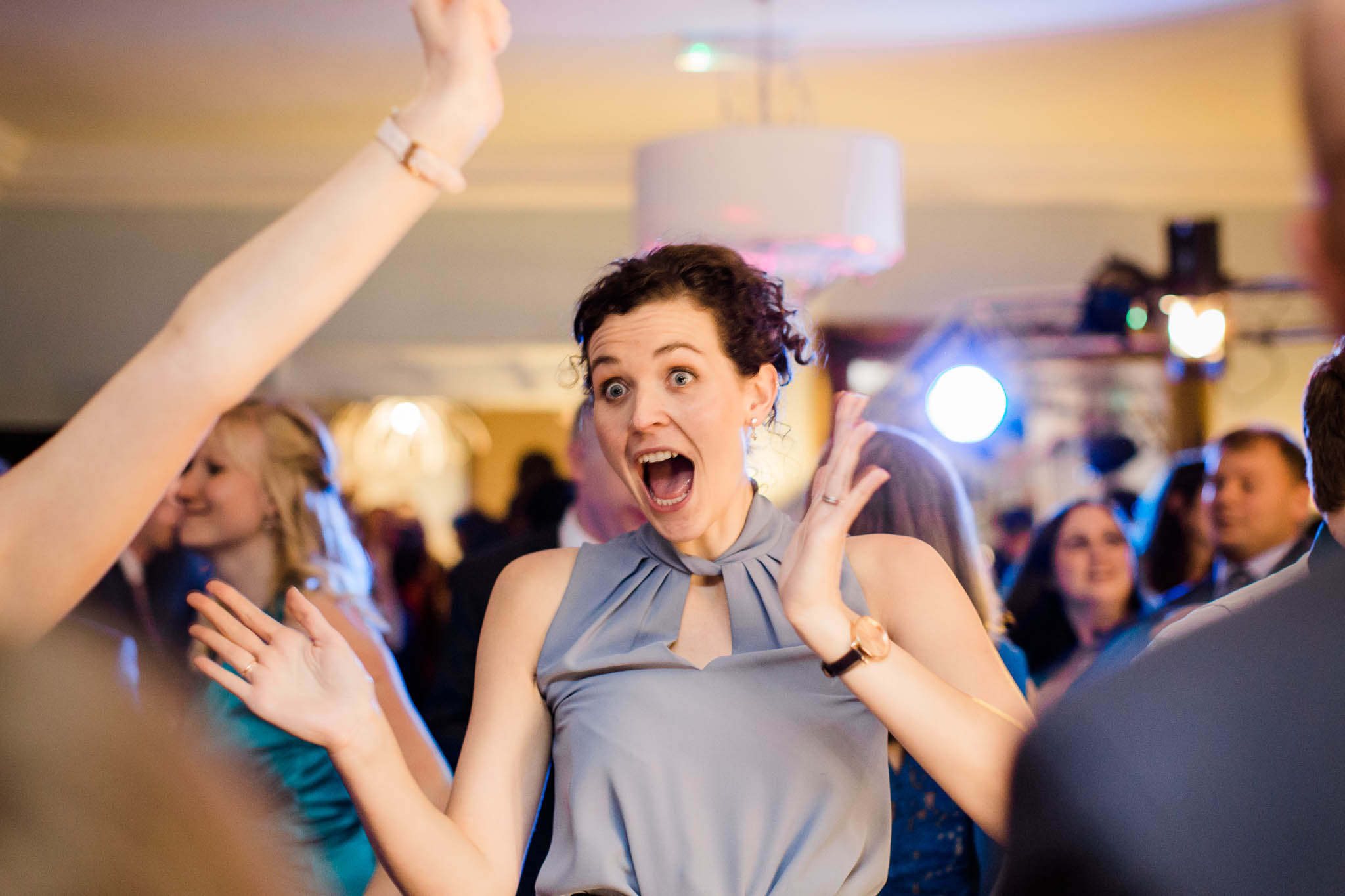 wedding guest having fun on dance floor