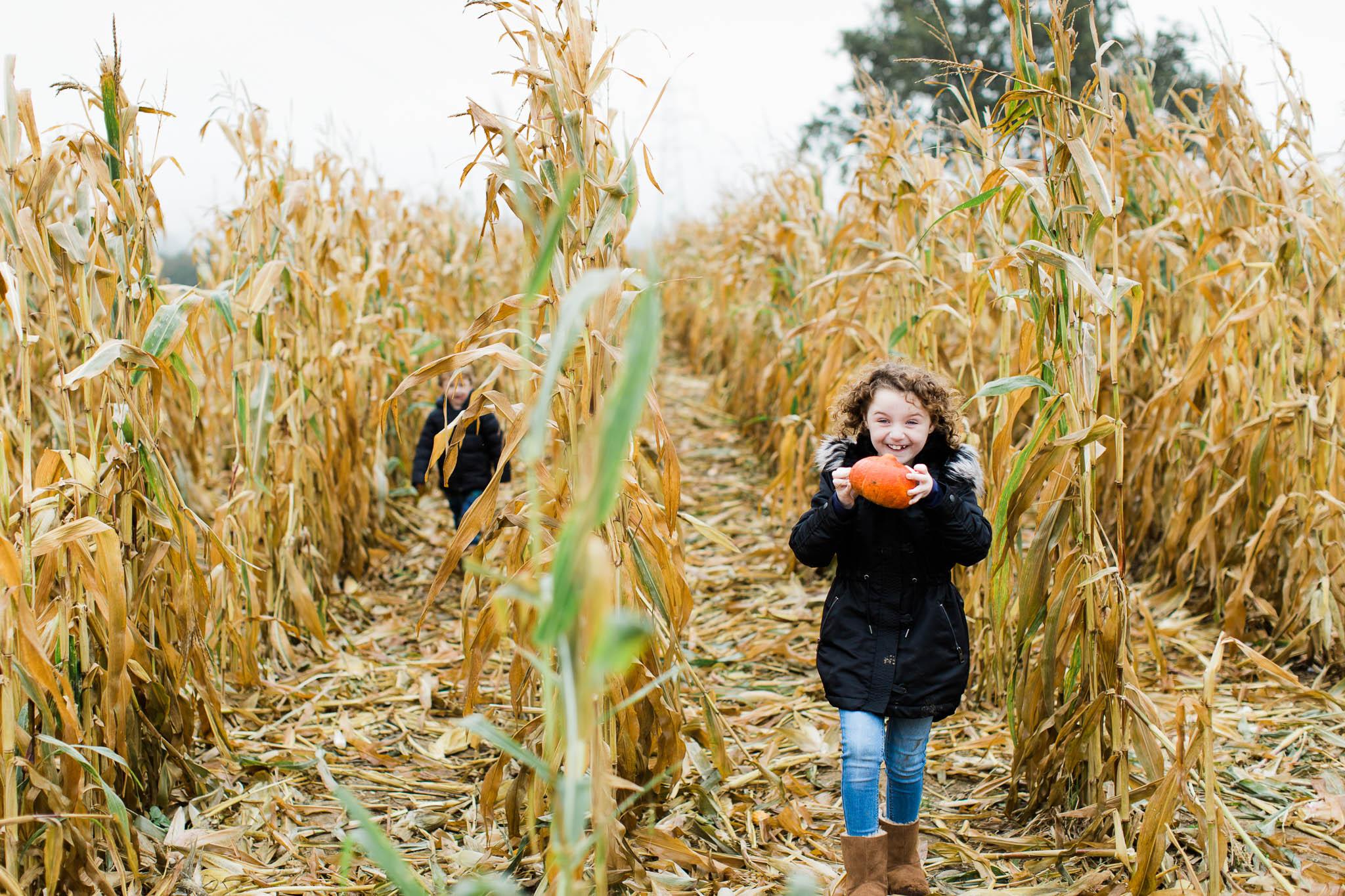 girl with pumpkin in cornfield