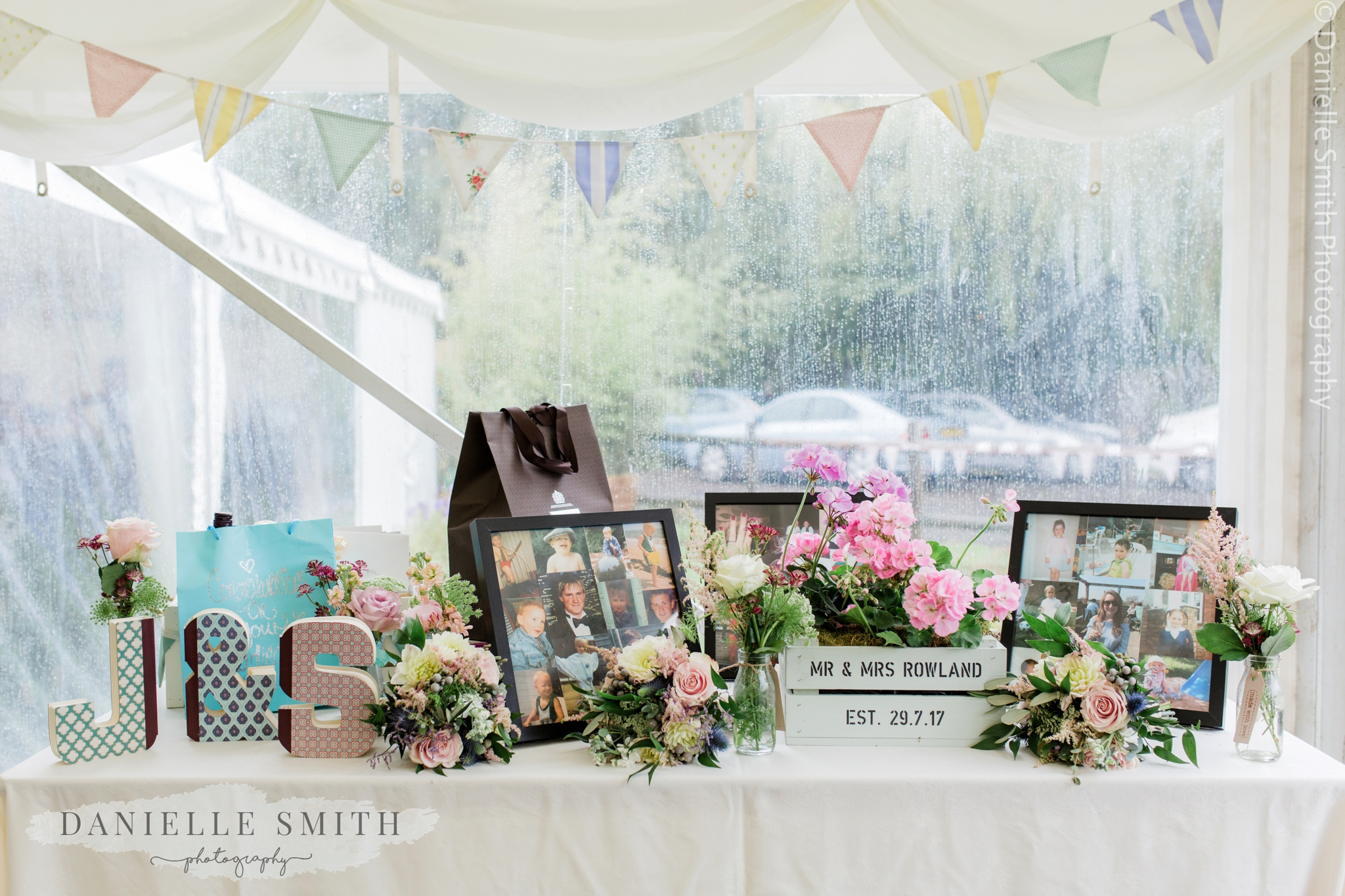 wedding gift table decor - relaxed marquee wedding