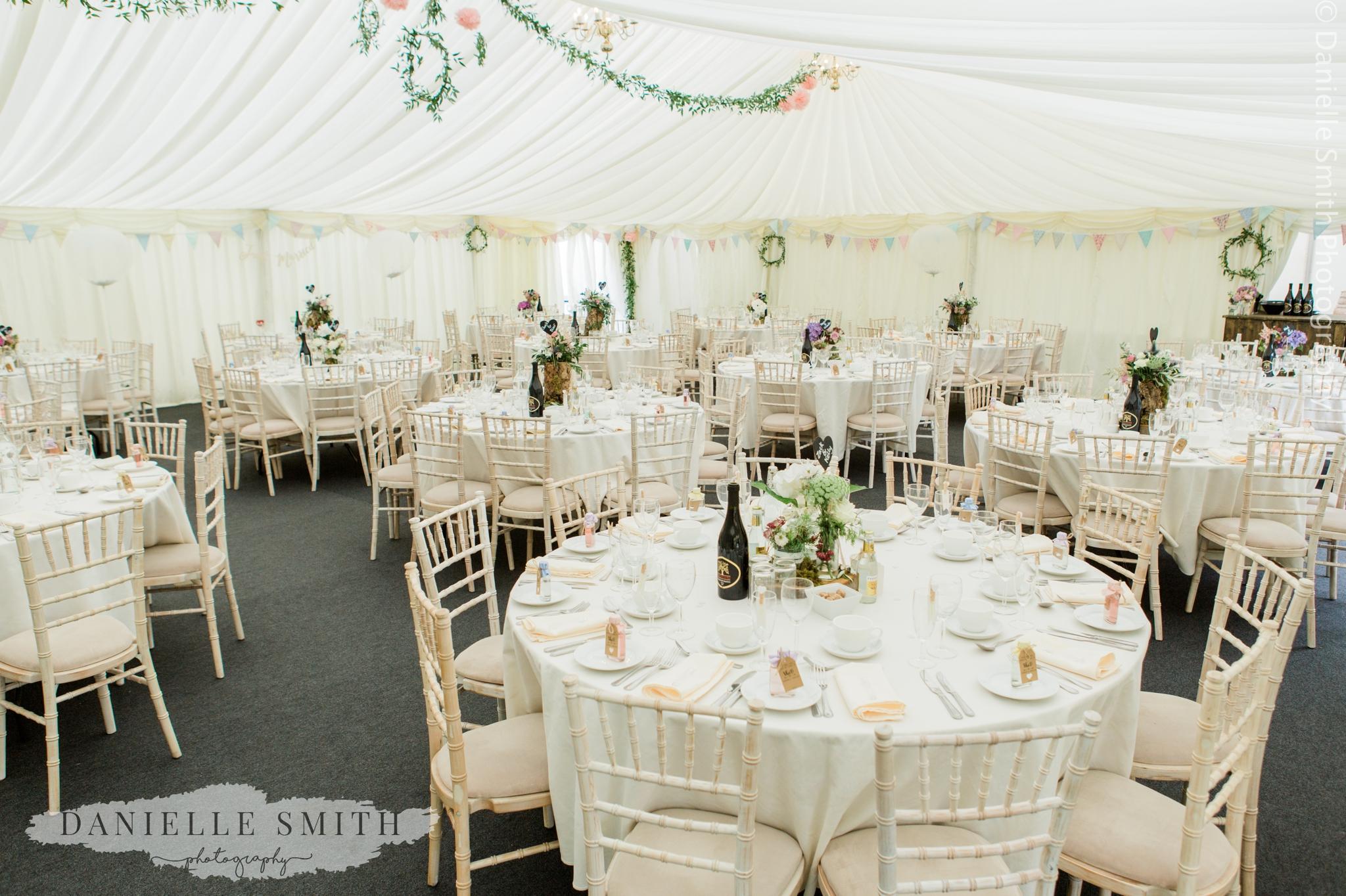wedding reception marquee tables