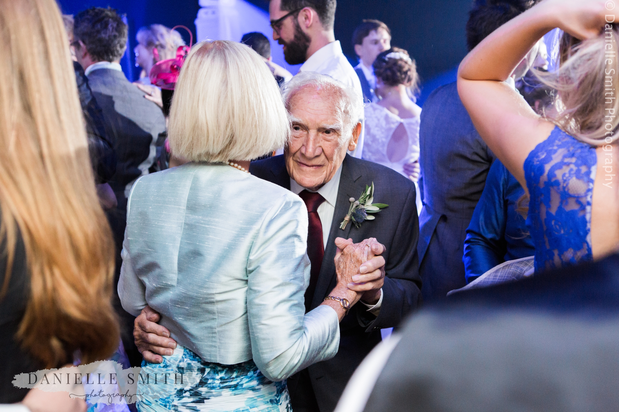 old man dancing with his daughter - relaxed marquee wedding