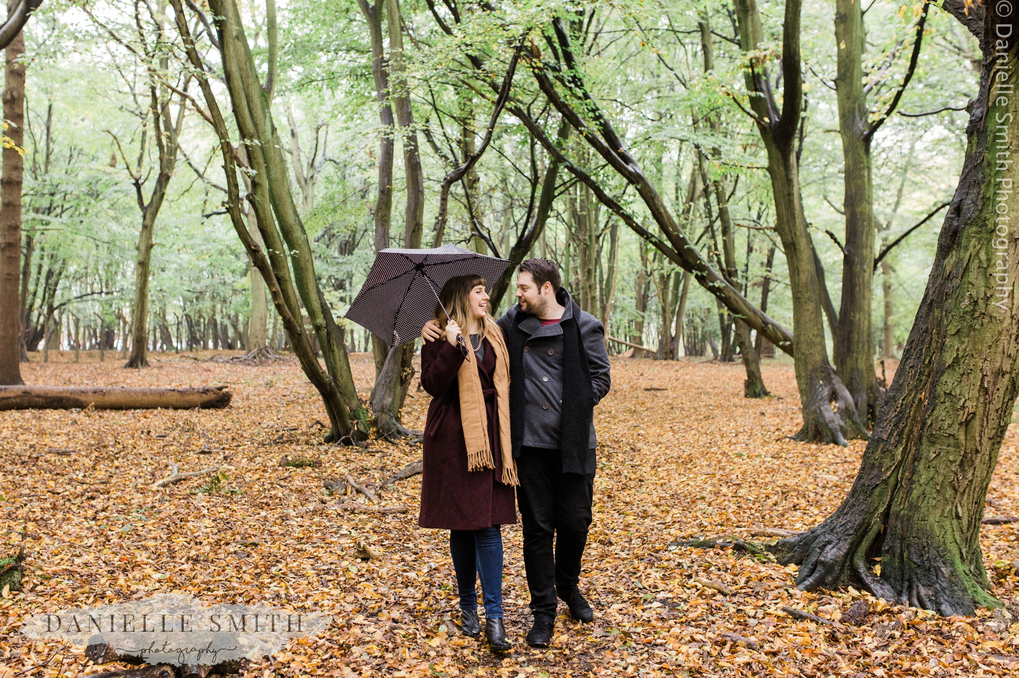 autumn woodland pre-wedding photography