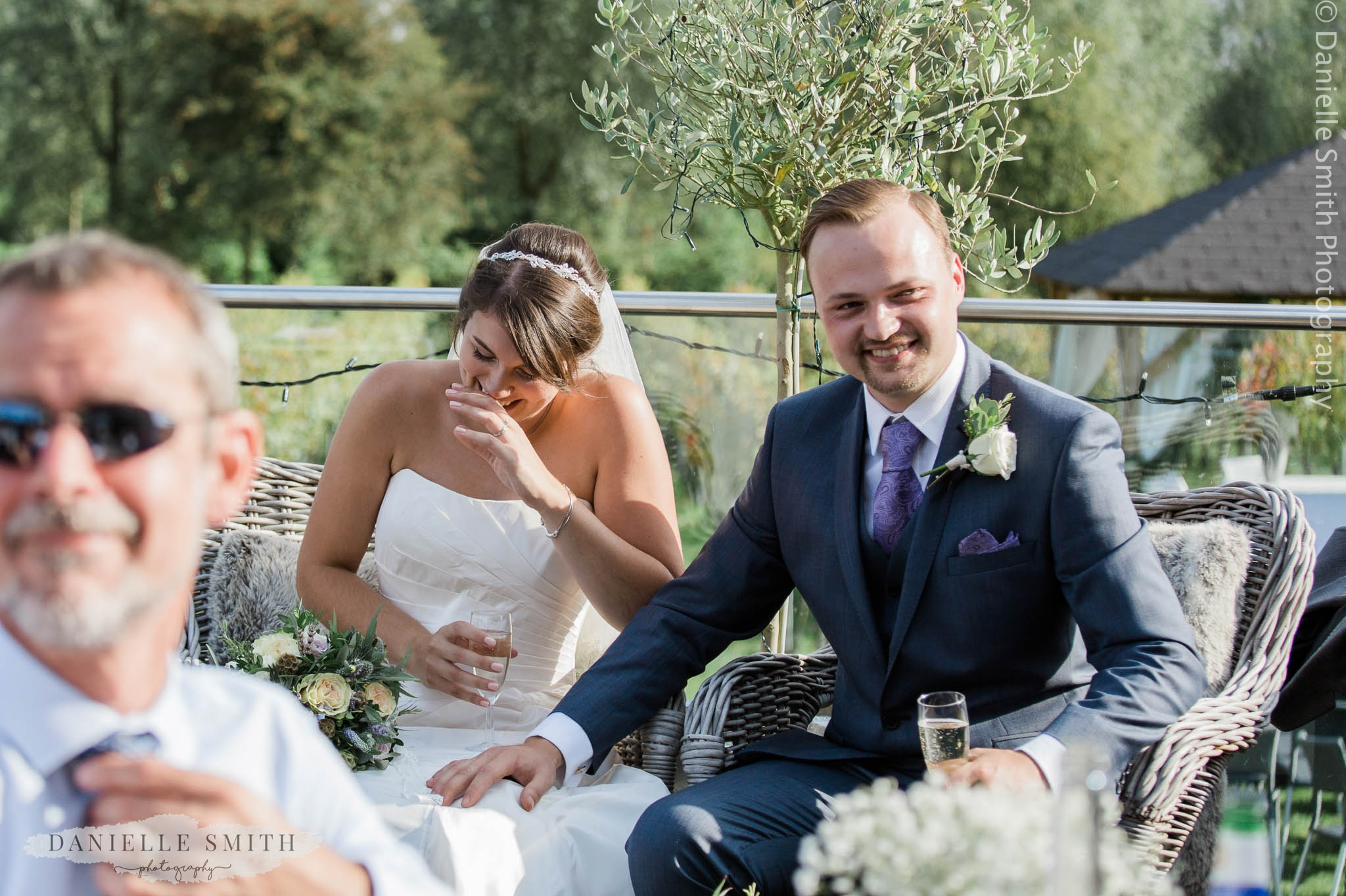 bride and groom laughing at speeches - west street vineyard
