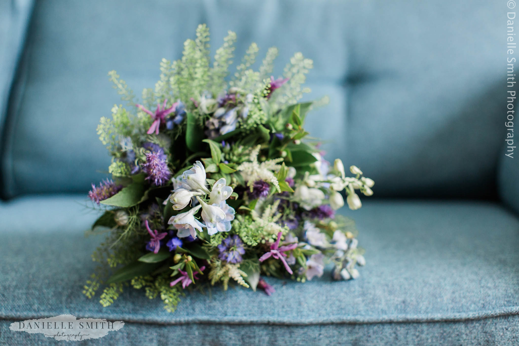 blue and violet wedding bouquet