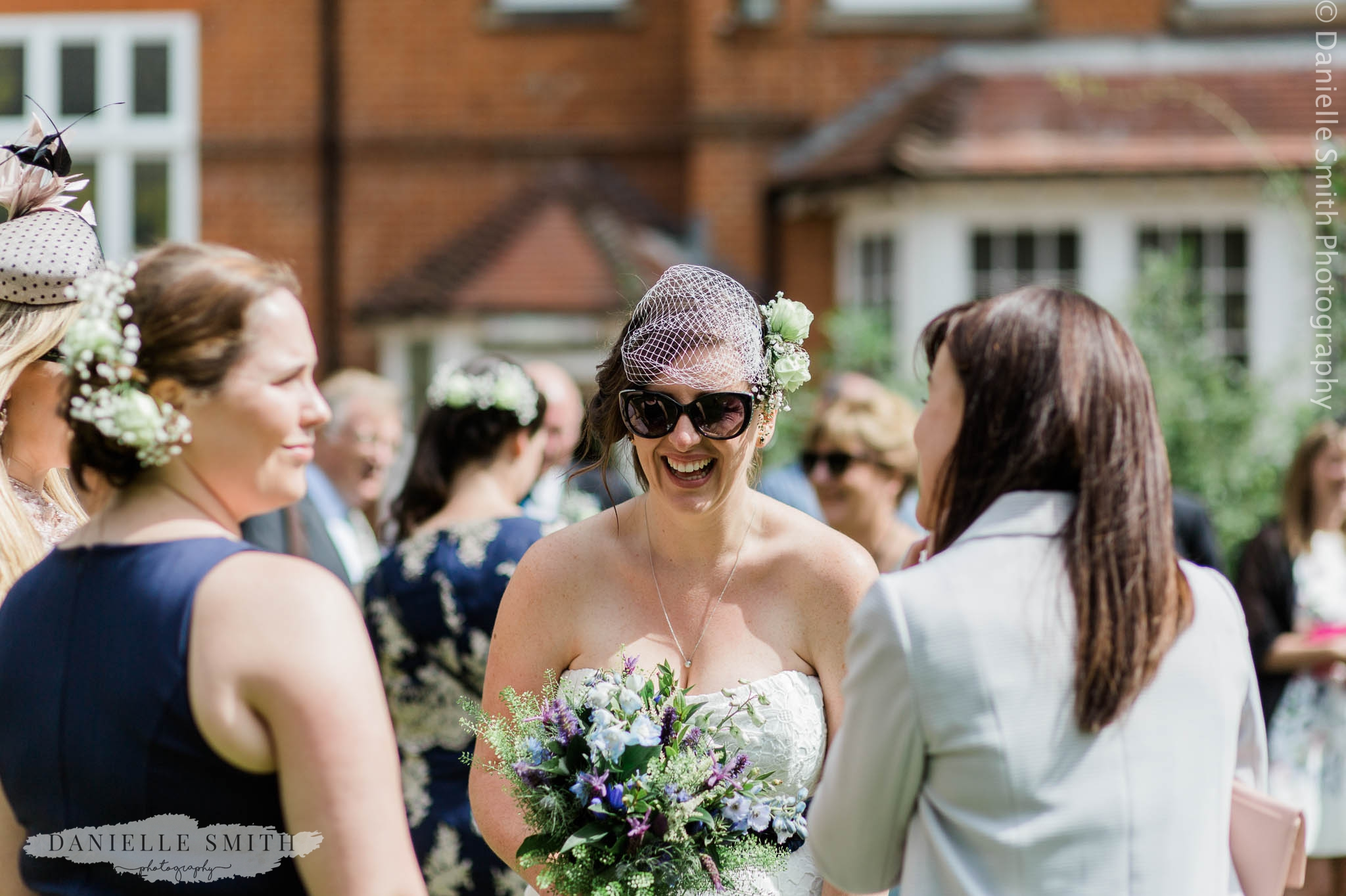 bride wearing her sunglasses