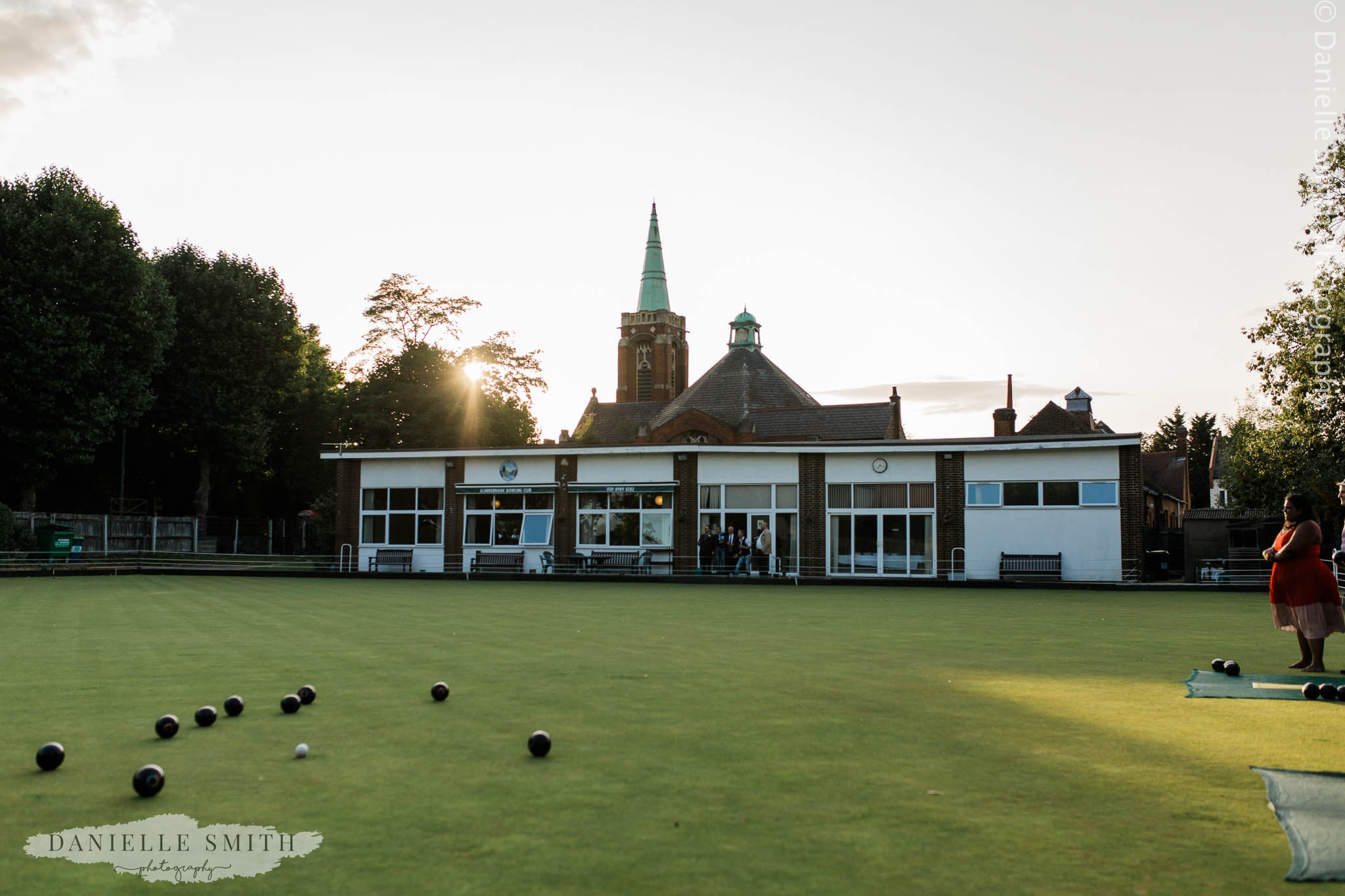 bowls club wedding at sunset