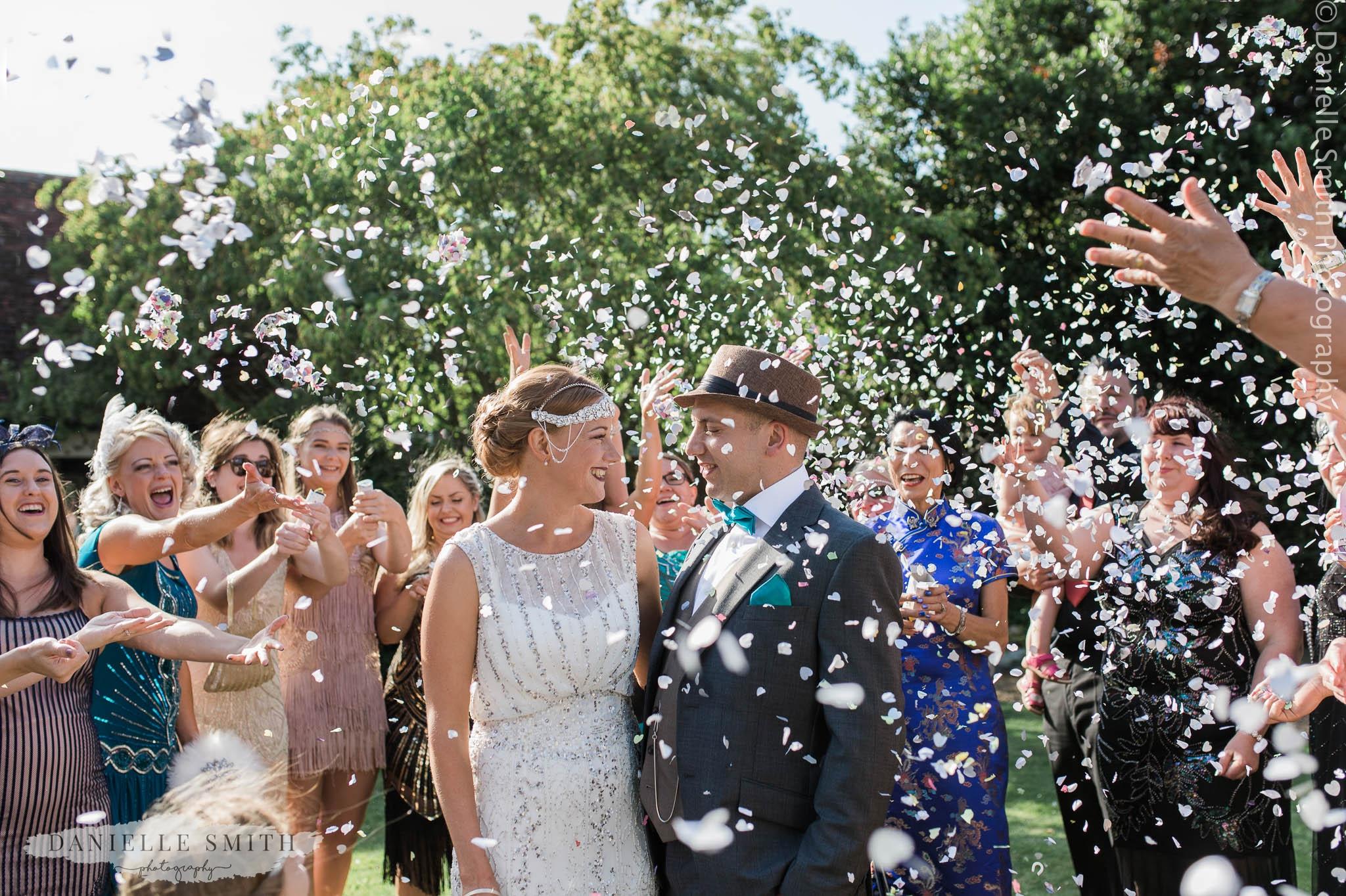 confetti at gatsby wedding