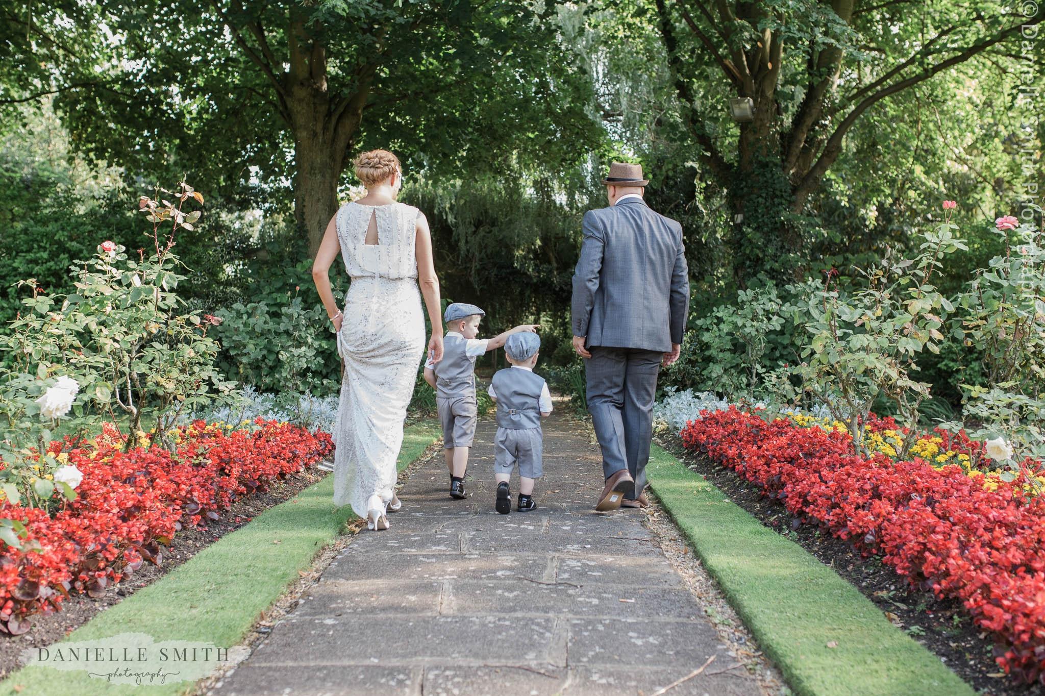 family photo at wedding - walking away