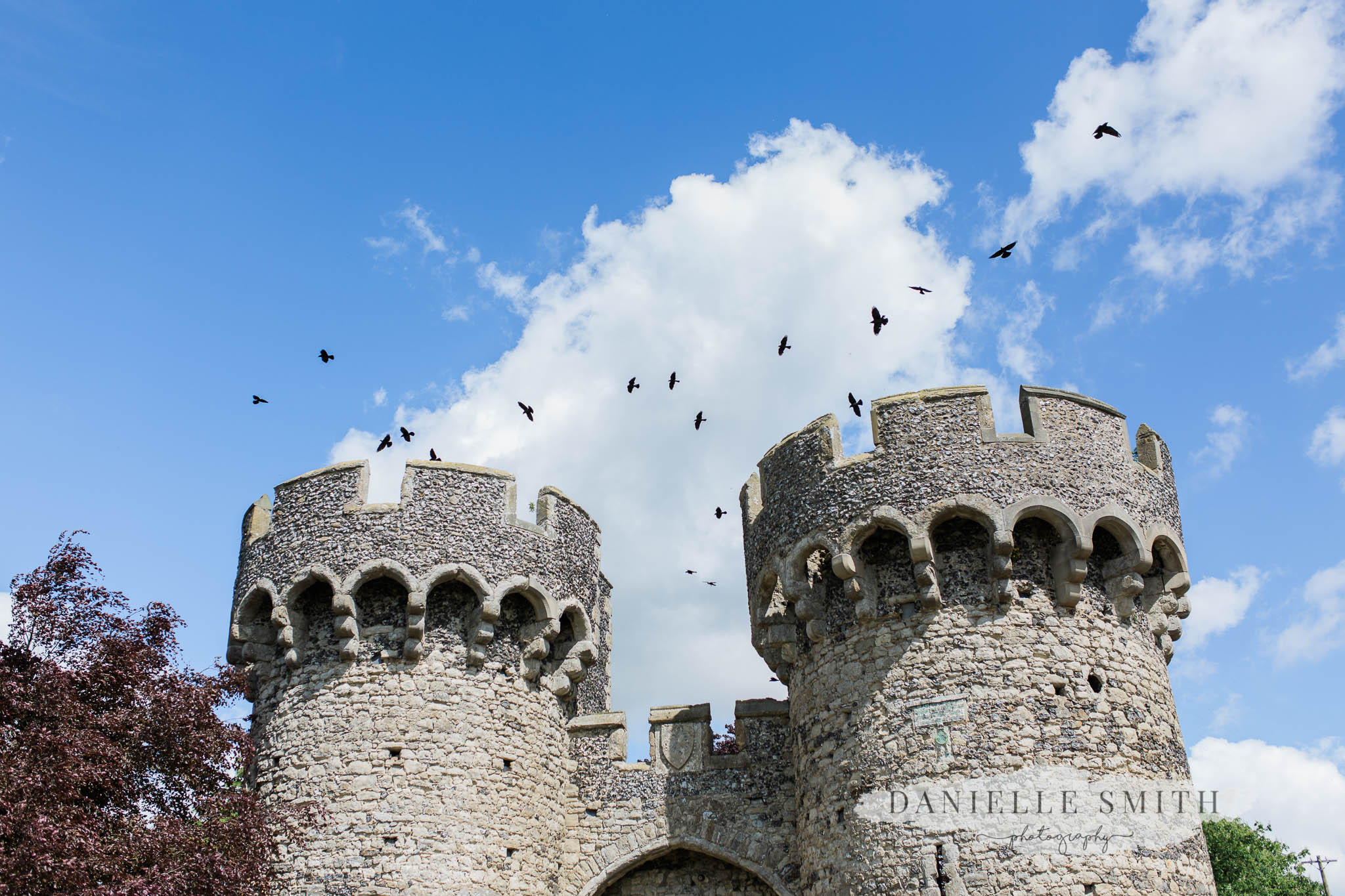 birds flying over cooling castle barn turrets