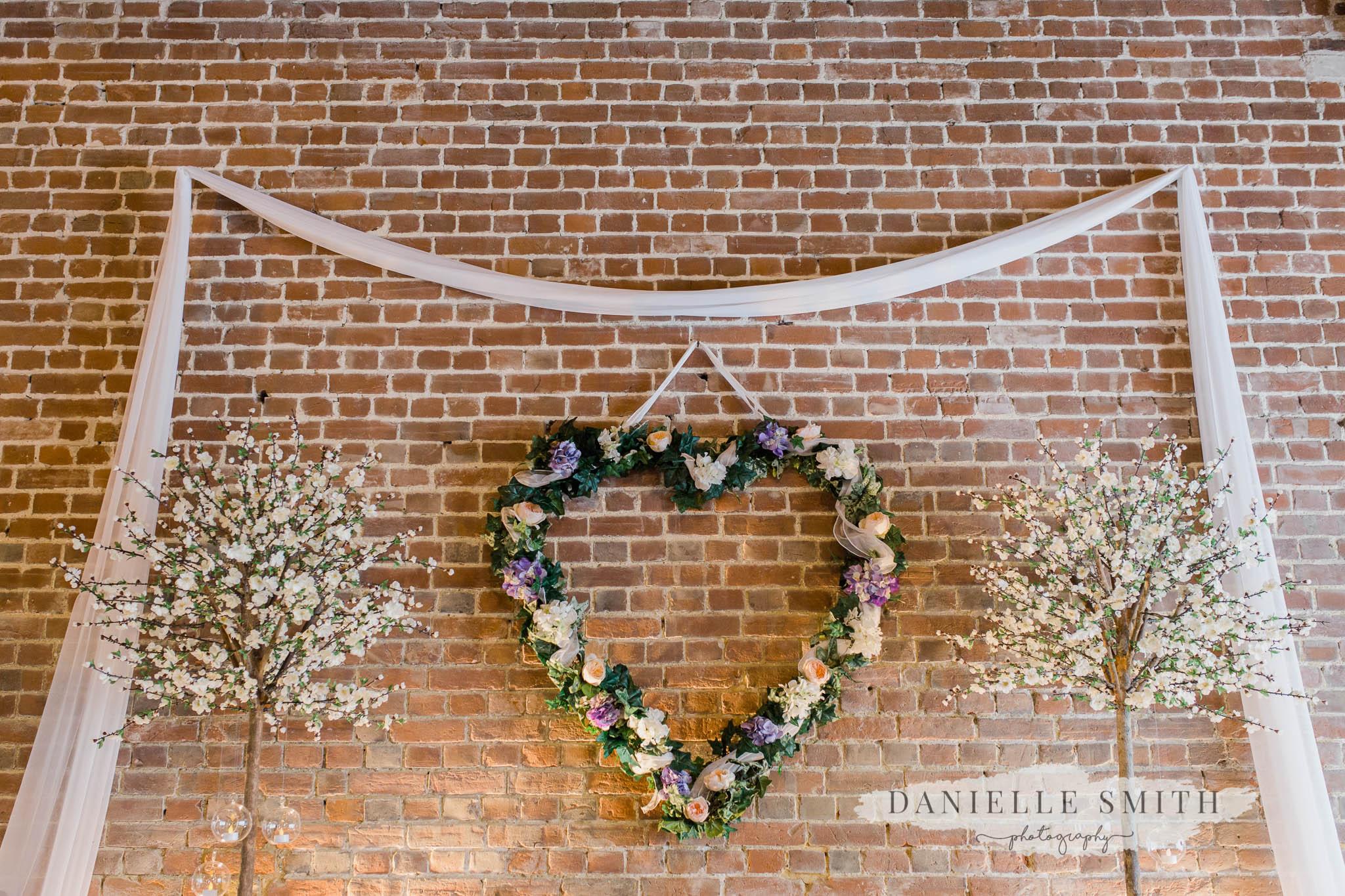 flower heart at cooling castle barn ceremony venue