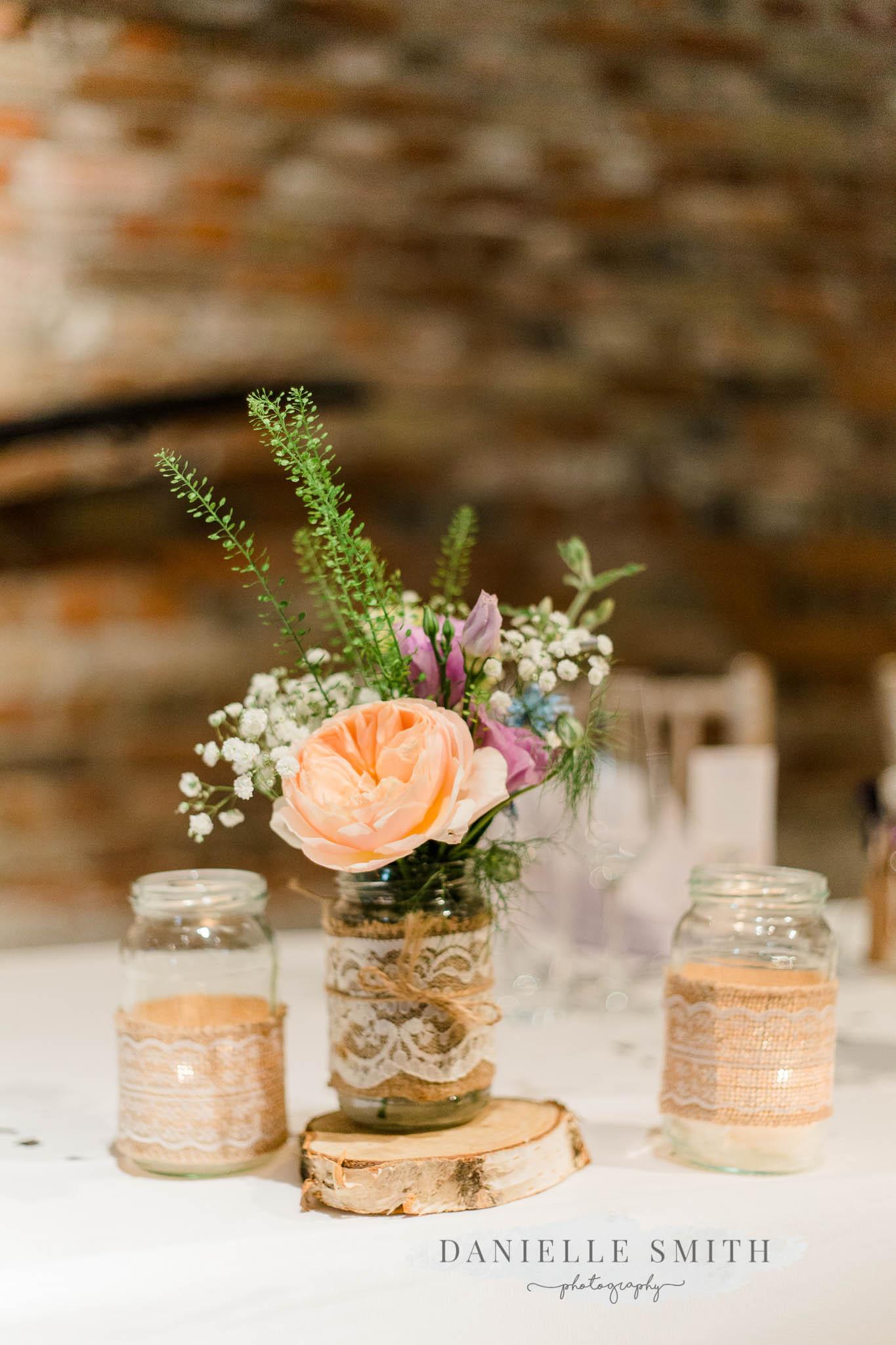 table decor pastel flowers