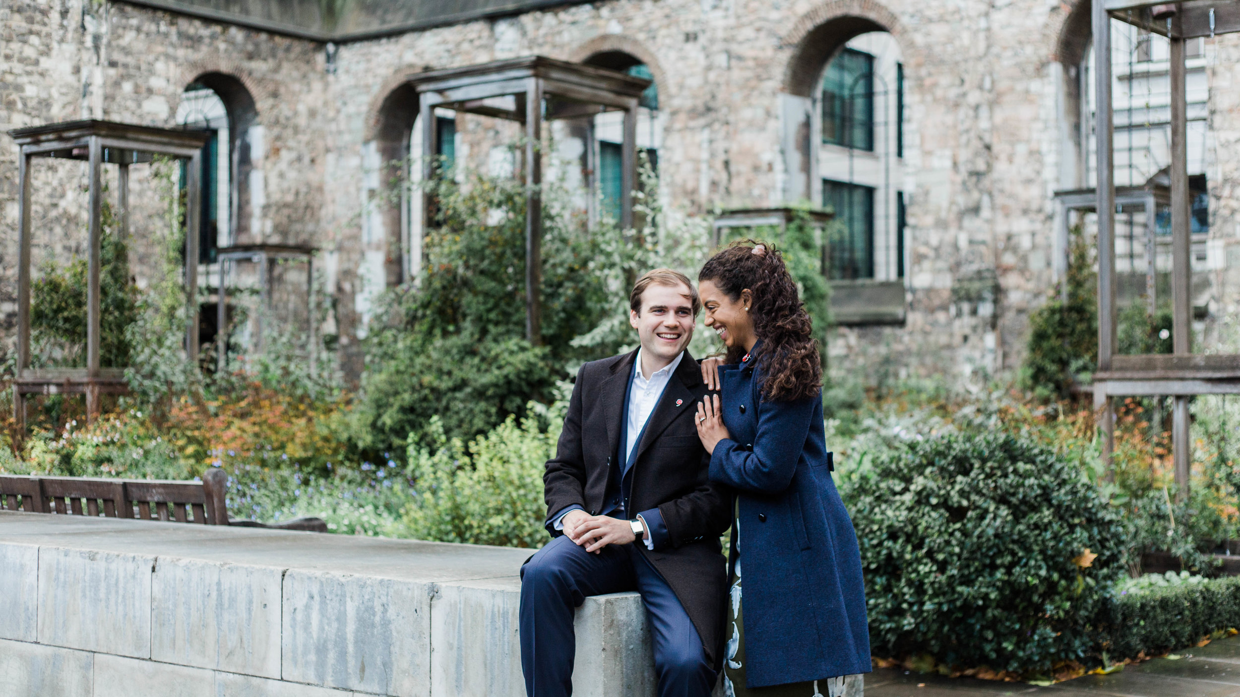 london pre wedding photography - couple in industrial gardens