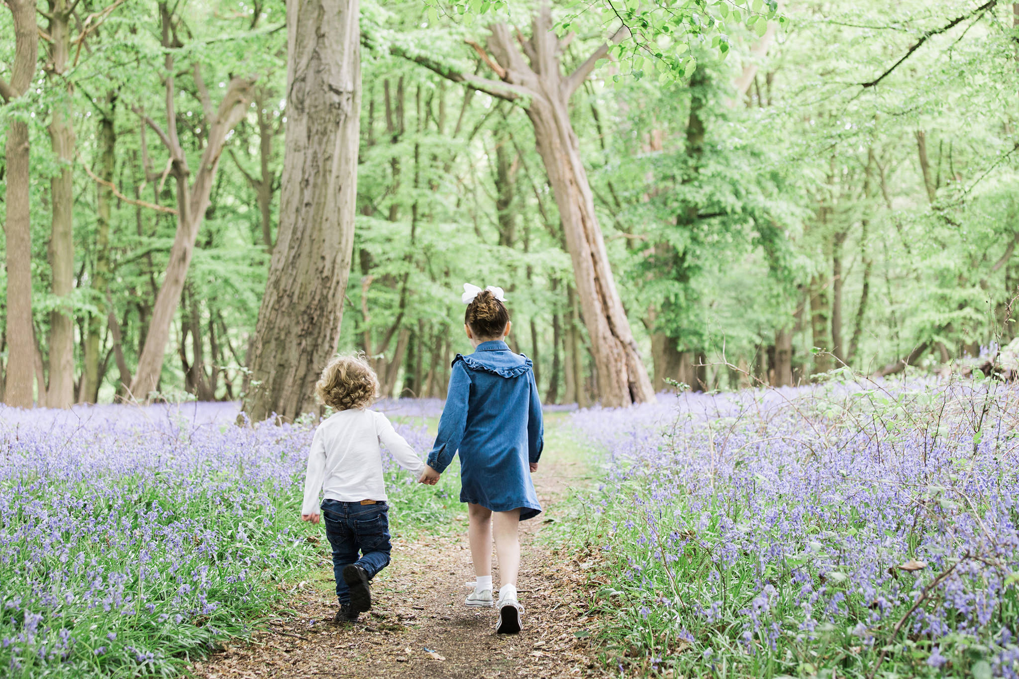 brother and sister walking through bluebell woods