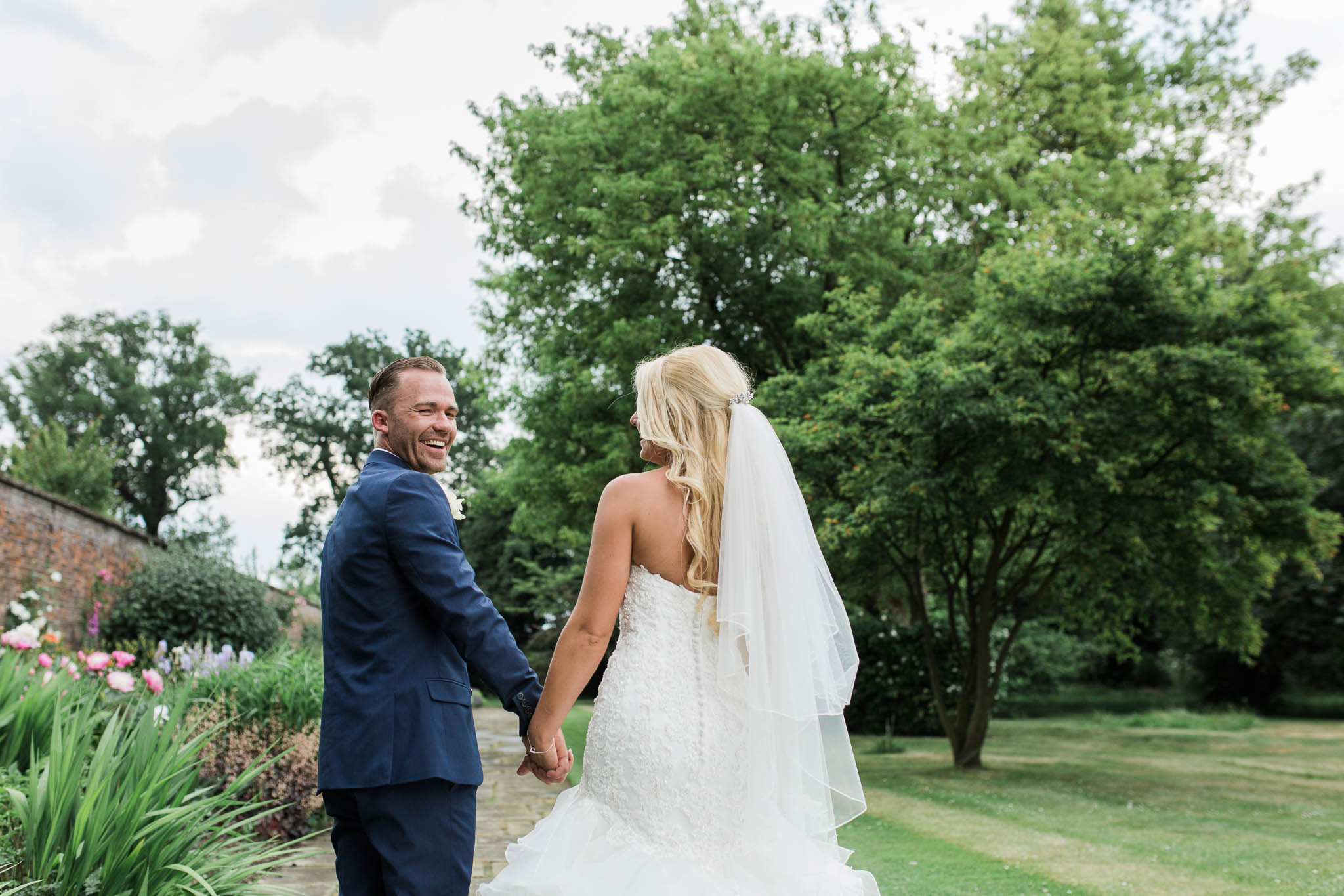 bride and groom on stormy wedding day