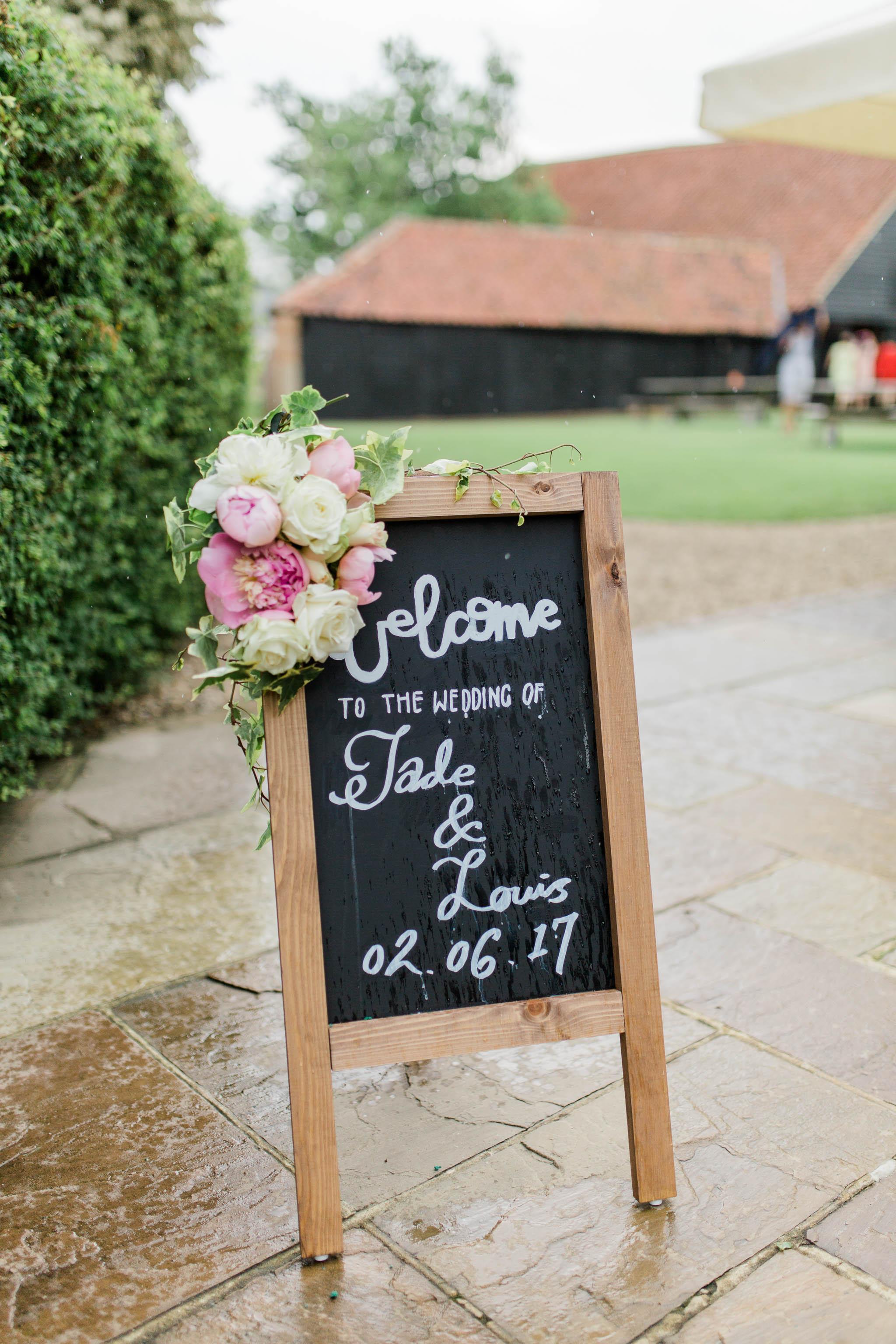 rainy wedding day welcome sign