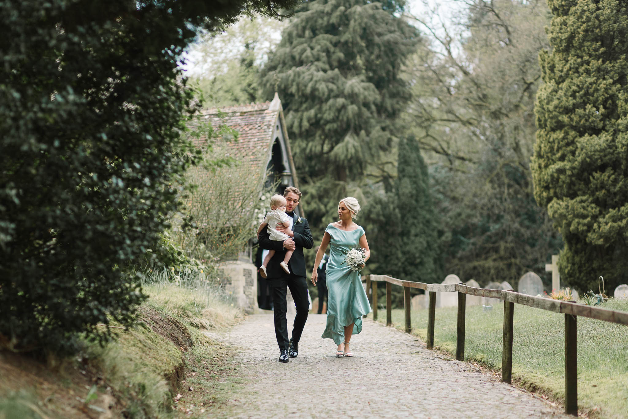 family walking together at church wedding