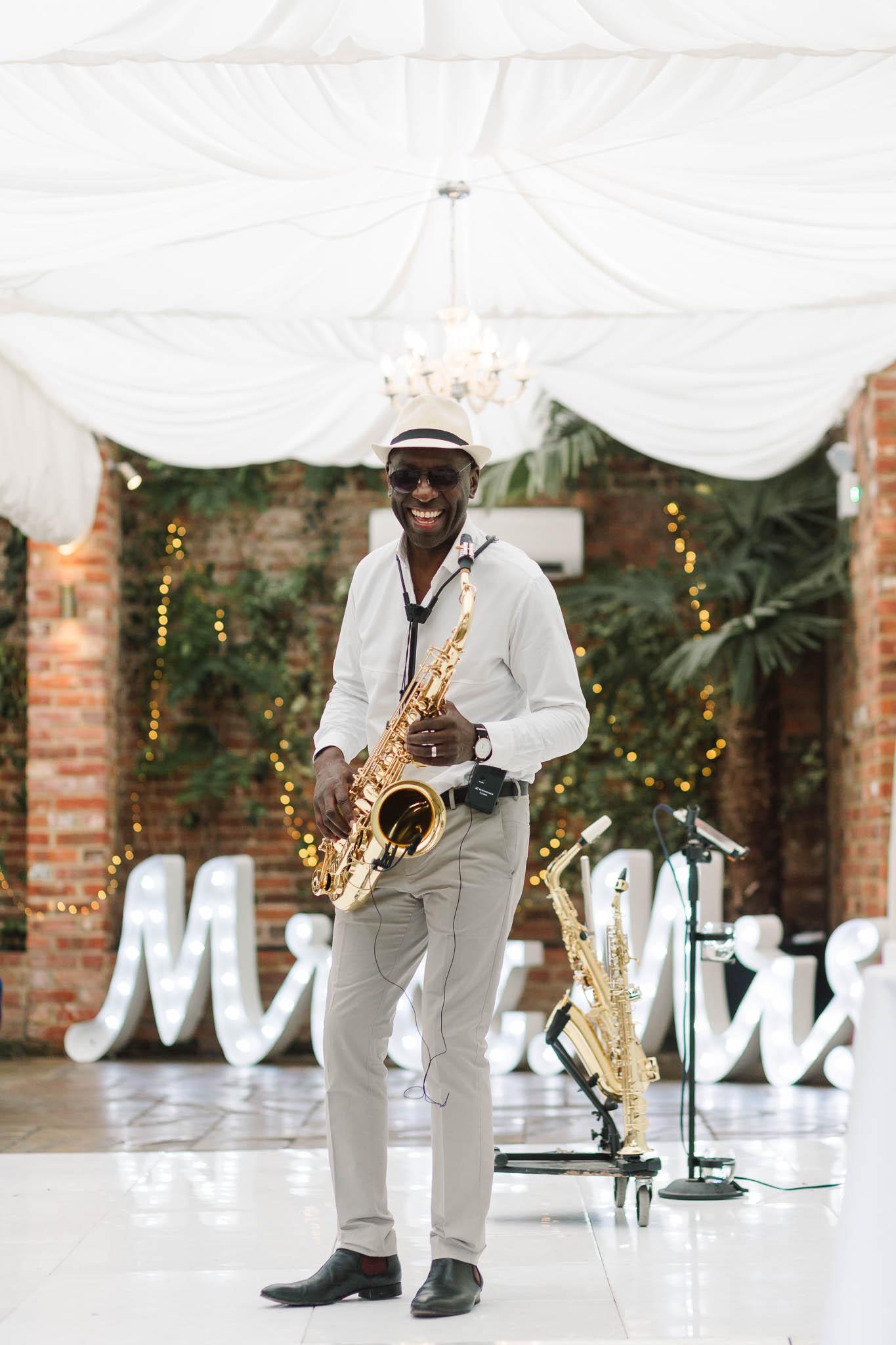 saxophonist at wedding