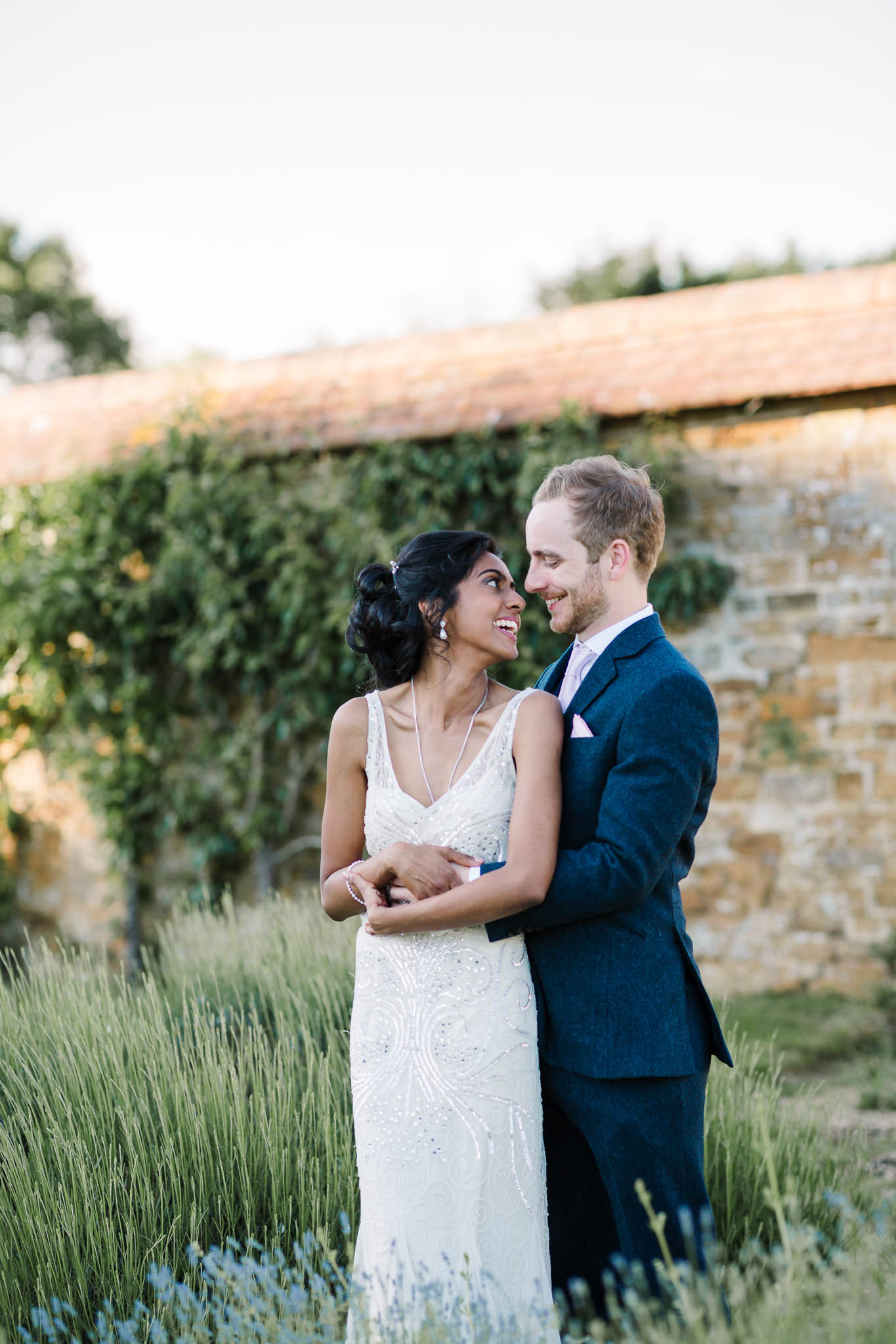 bride and groom in lavender