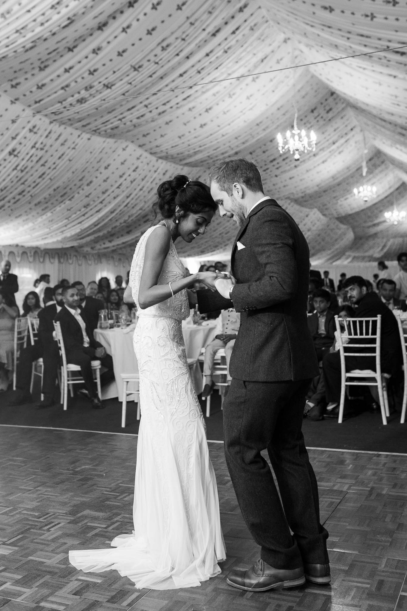 bride and grooms first dance at Poundon House