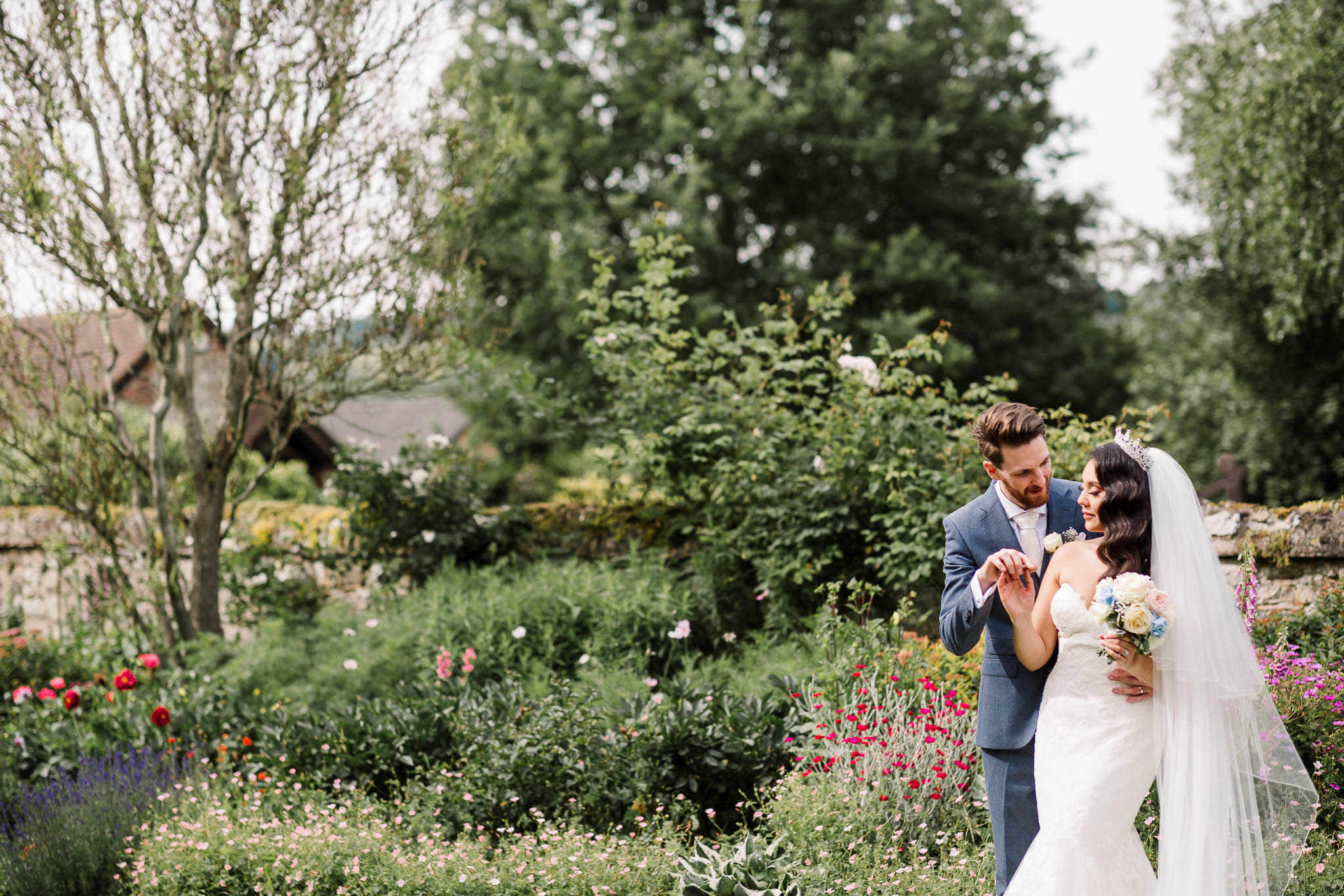 bride and groom romantic portrait at brewerstreet farmhouse wedding