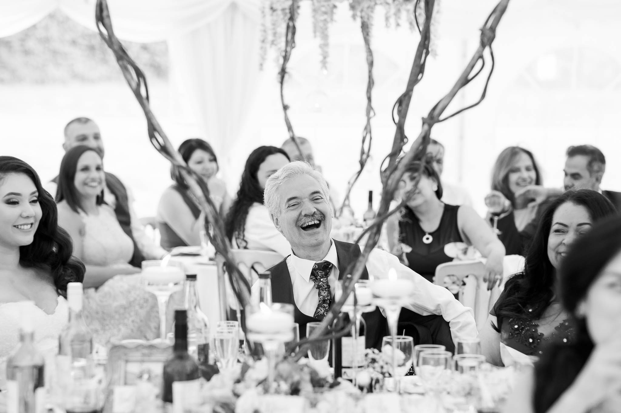 father of bride laughing at speeches- brewerstreet farmhouse wedding