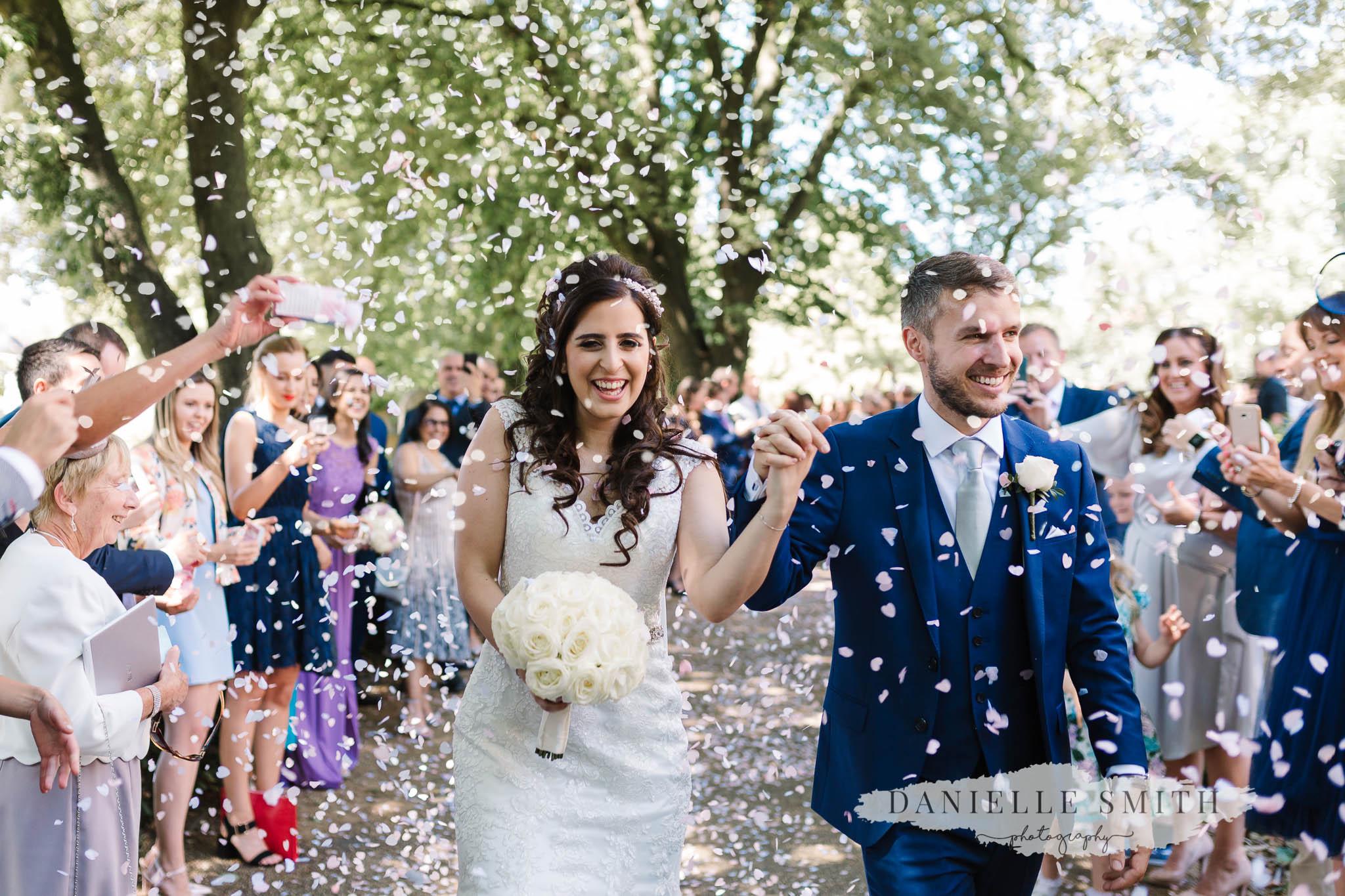 confetti photo at church wedding