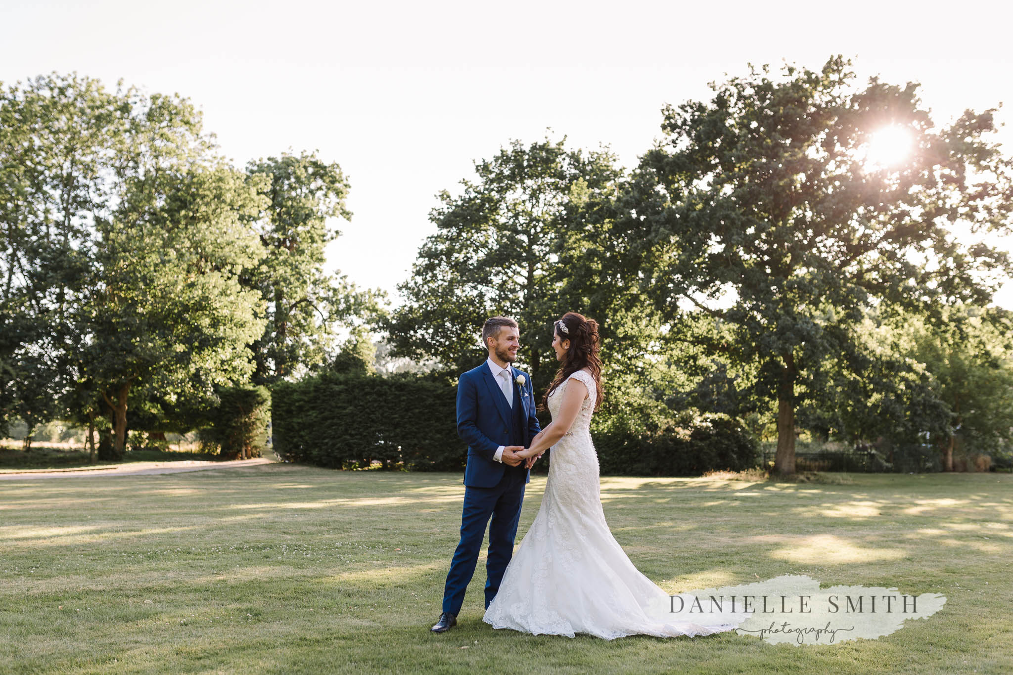 bride and groom at sunset at sopwell house