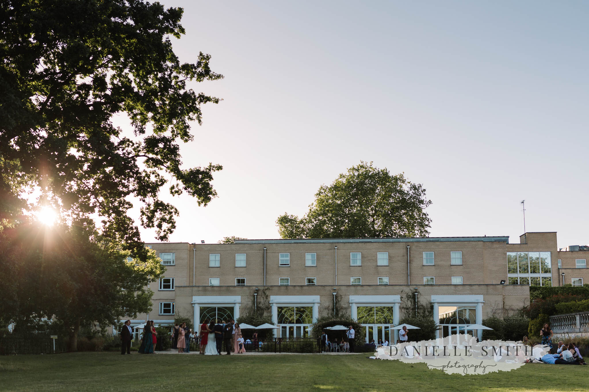 sun setting at chilled wedding at Sopwell House