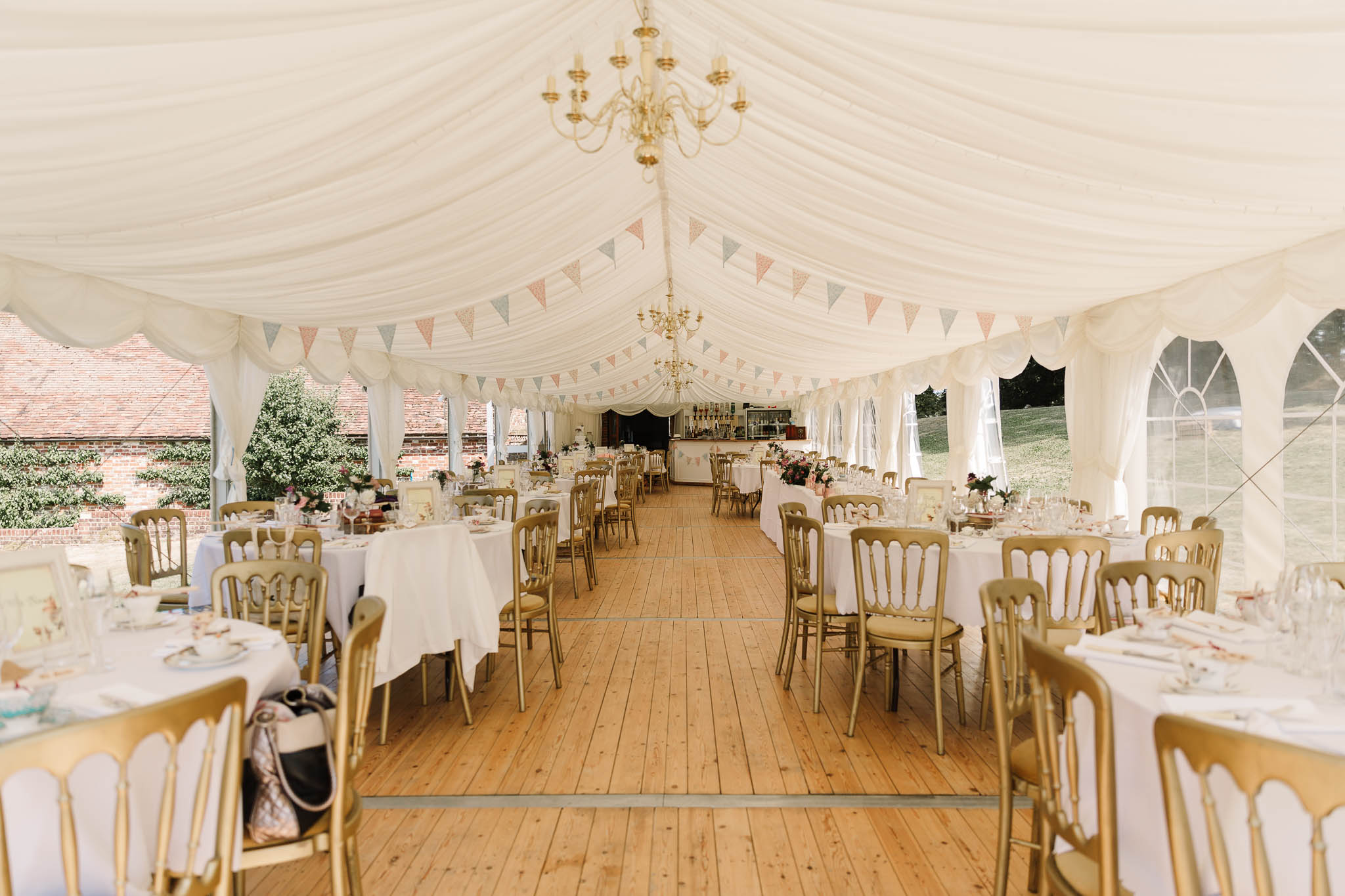 afternoon tea wedding reception room - ENGLISH COUNTRY WEDDING AT SWARLING MANOR