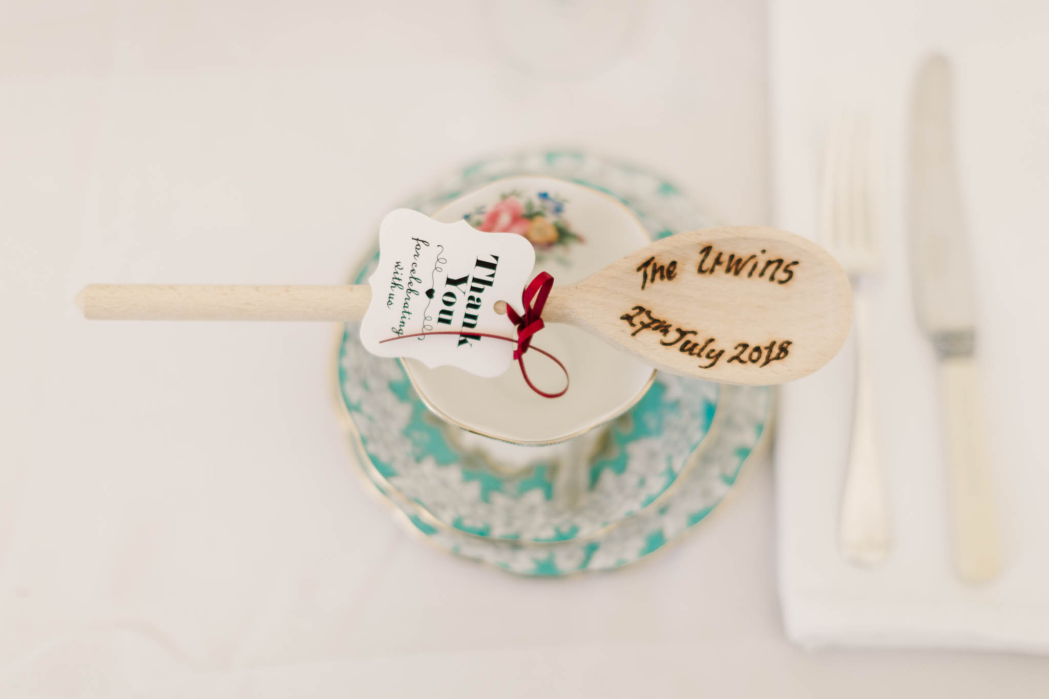 wooden spoon favours at english country wedding