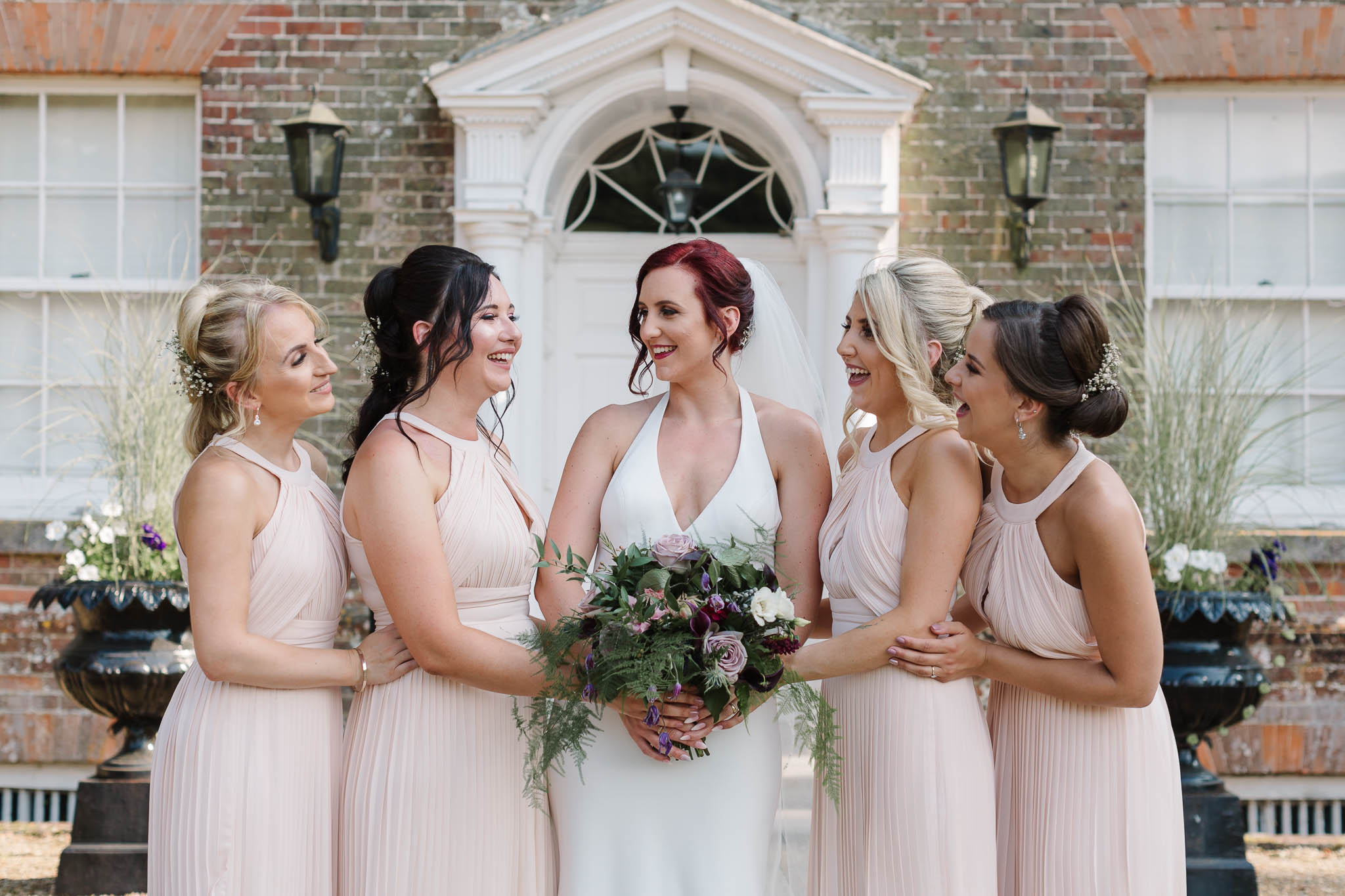 bride and bridesmaid at swarling manor