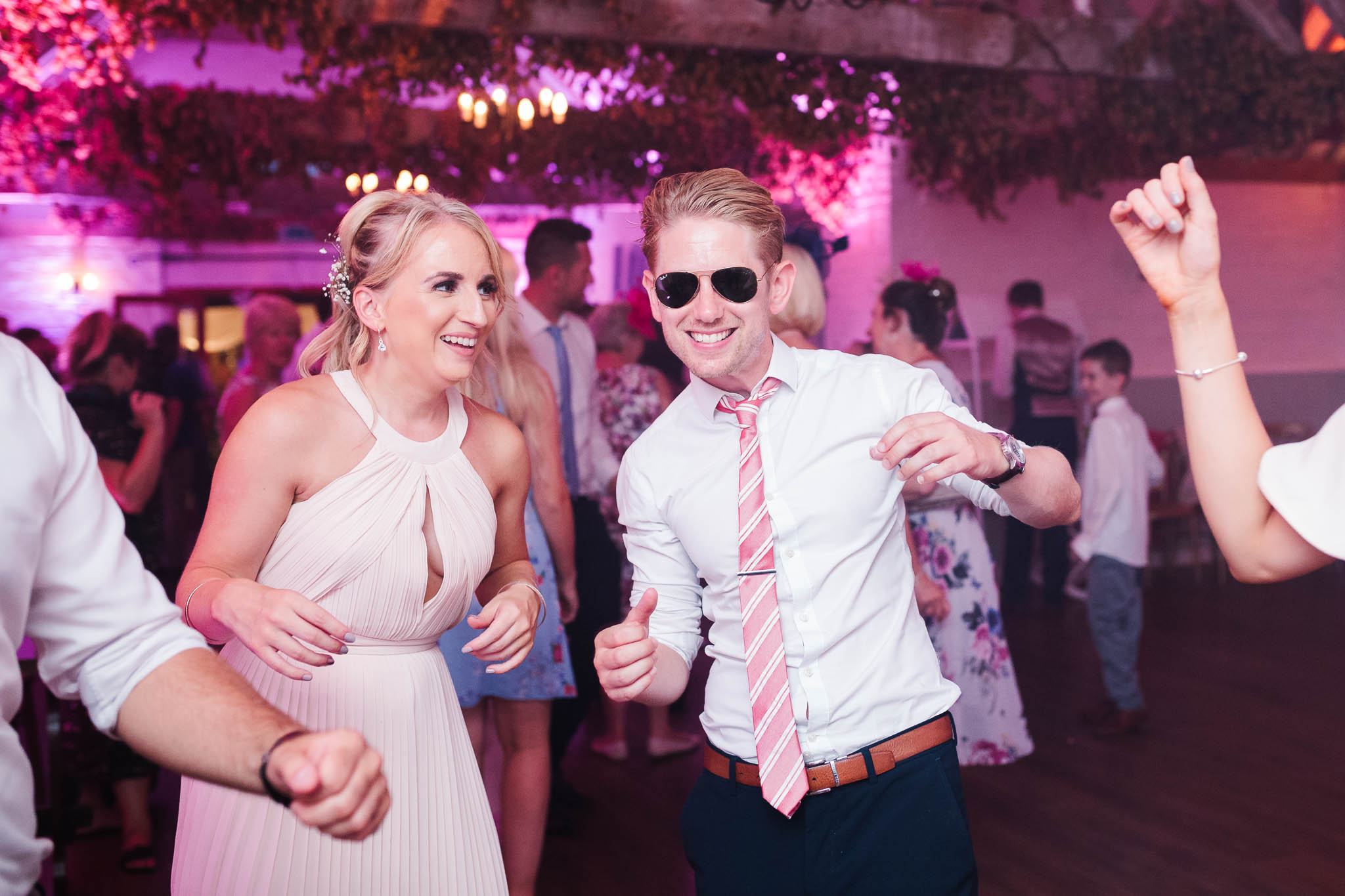 wedding guests dancing at swarling manor