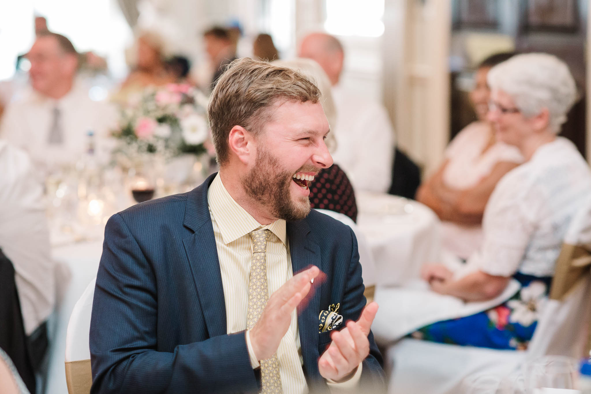wedding guest laughing at RAC club wedding