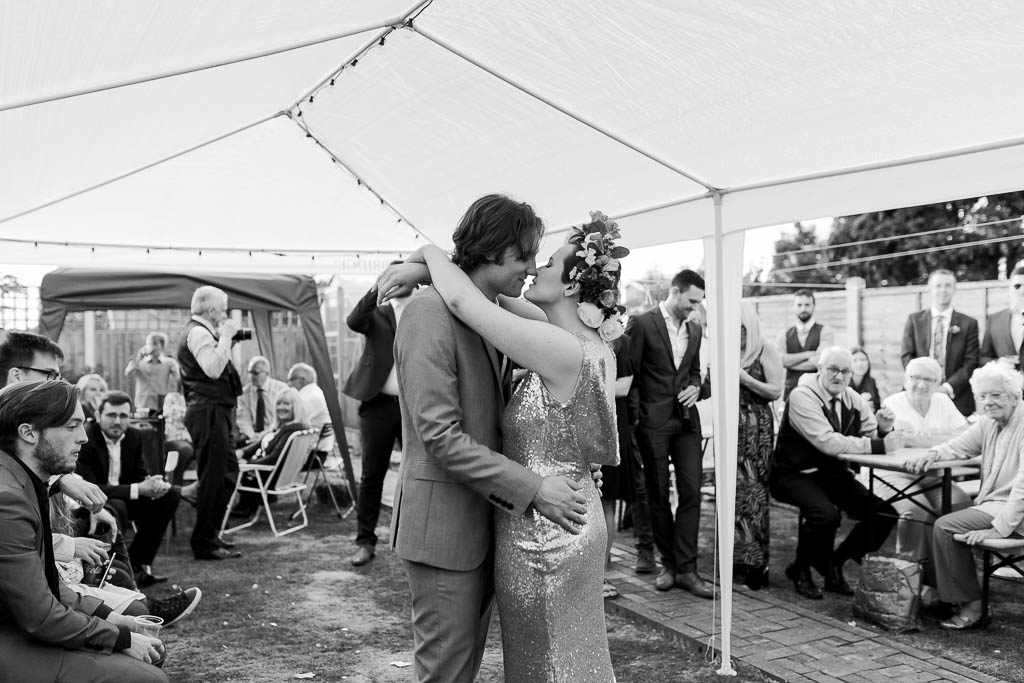 first dance at chilled garden wedding reception
