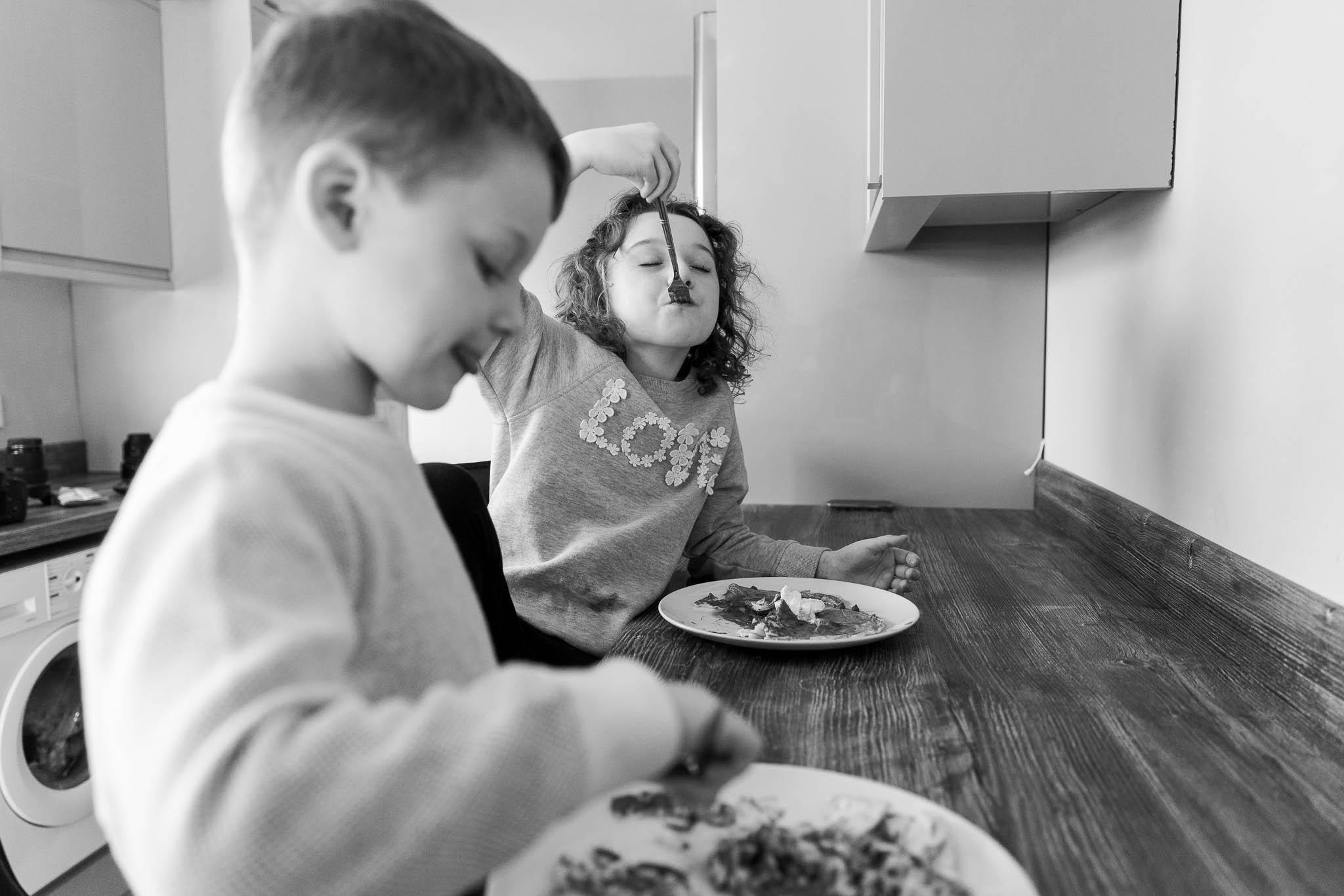 kids eating their home made pancakes