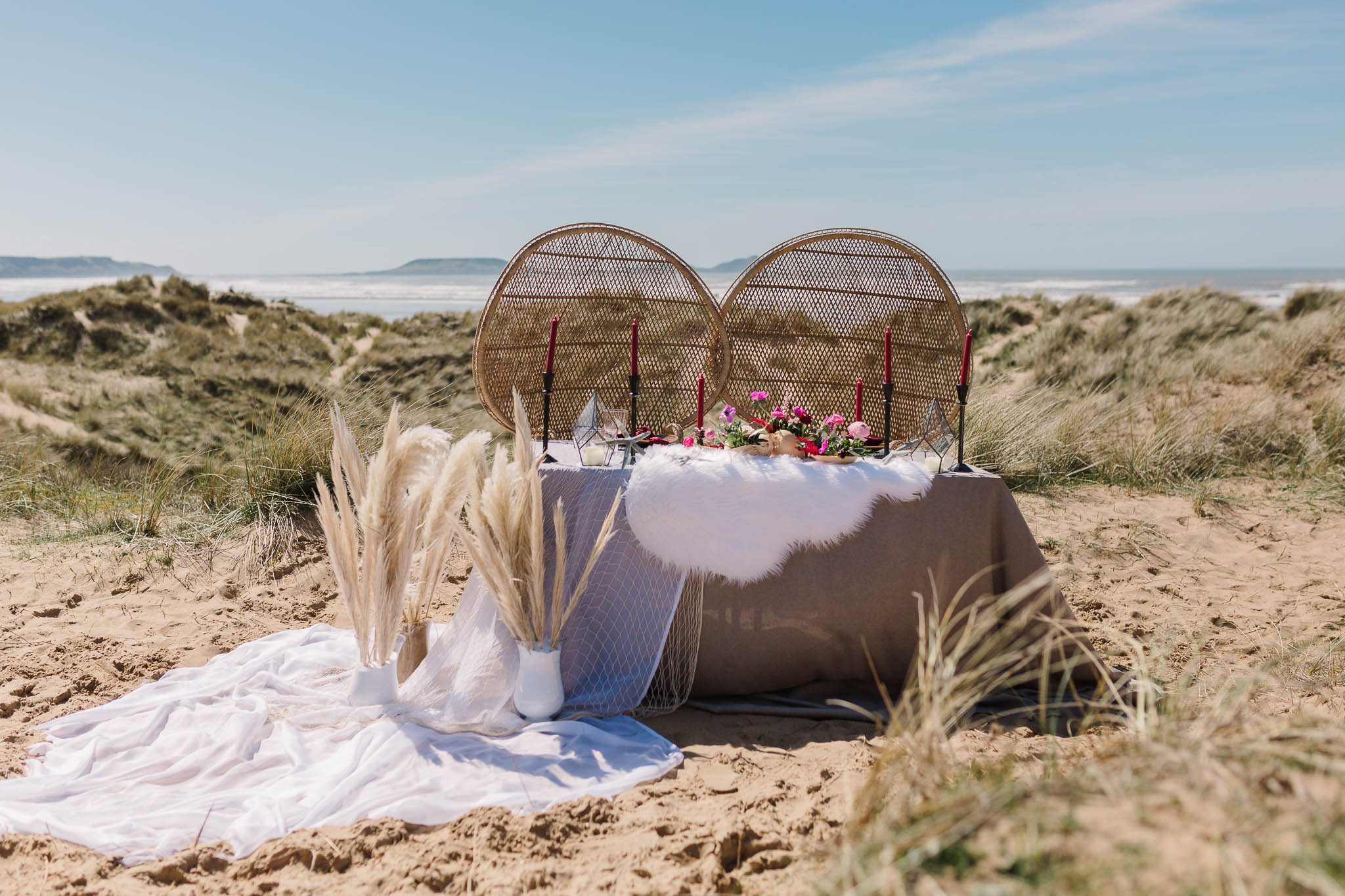 Wedding Photography on the Beach- table set up