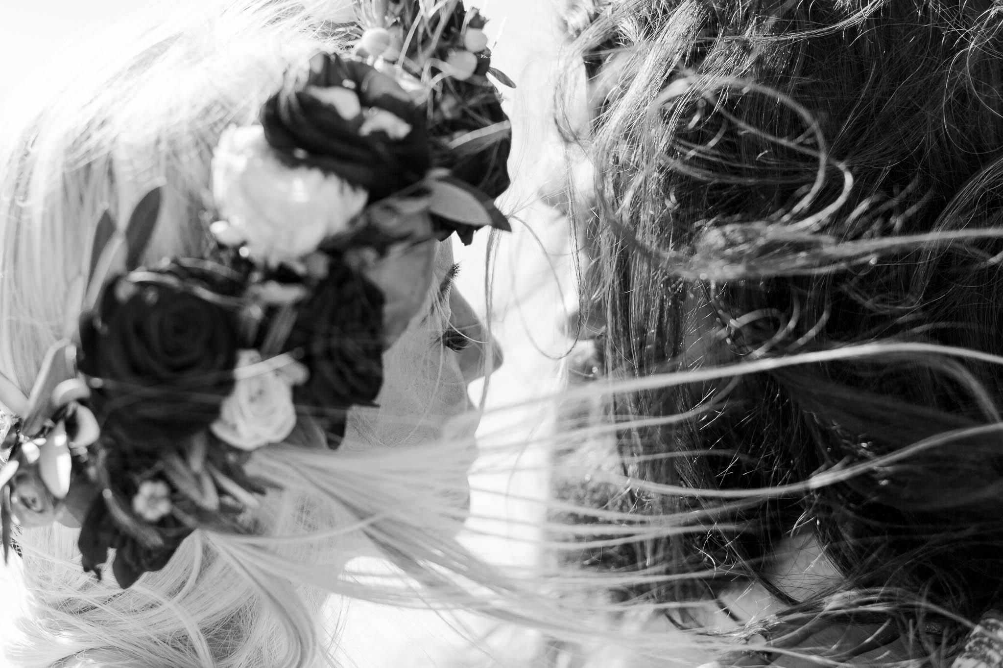 brides hair blowing in the wind