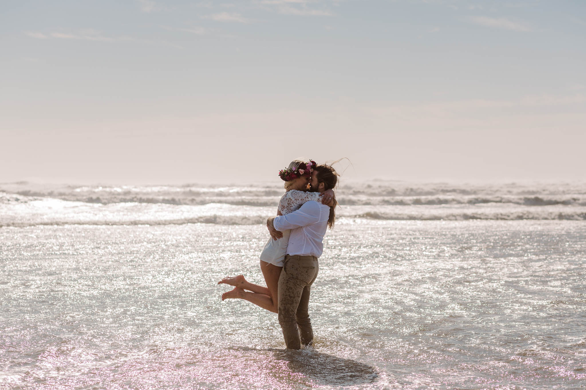 couple hugging in the sea