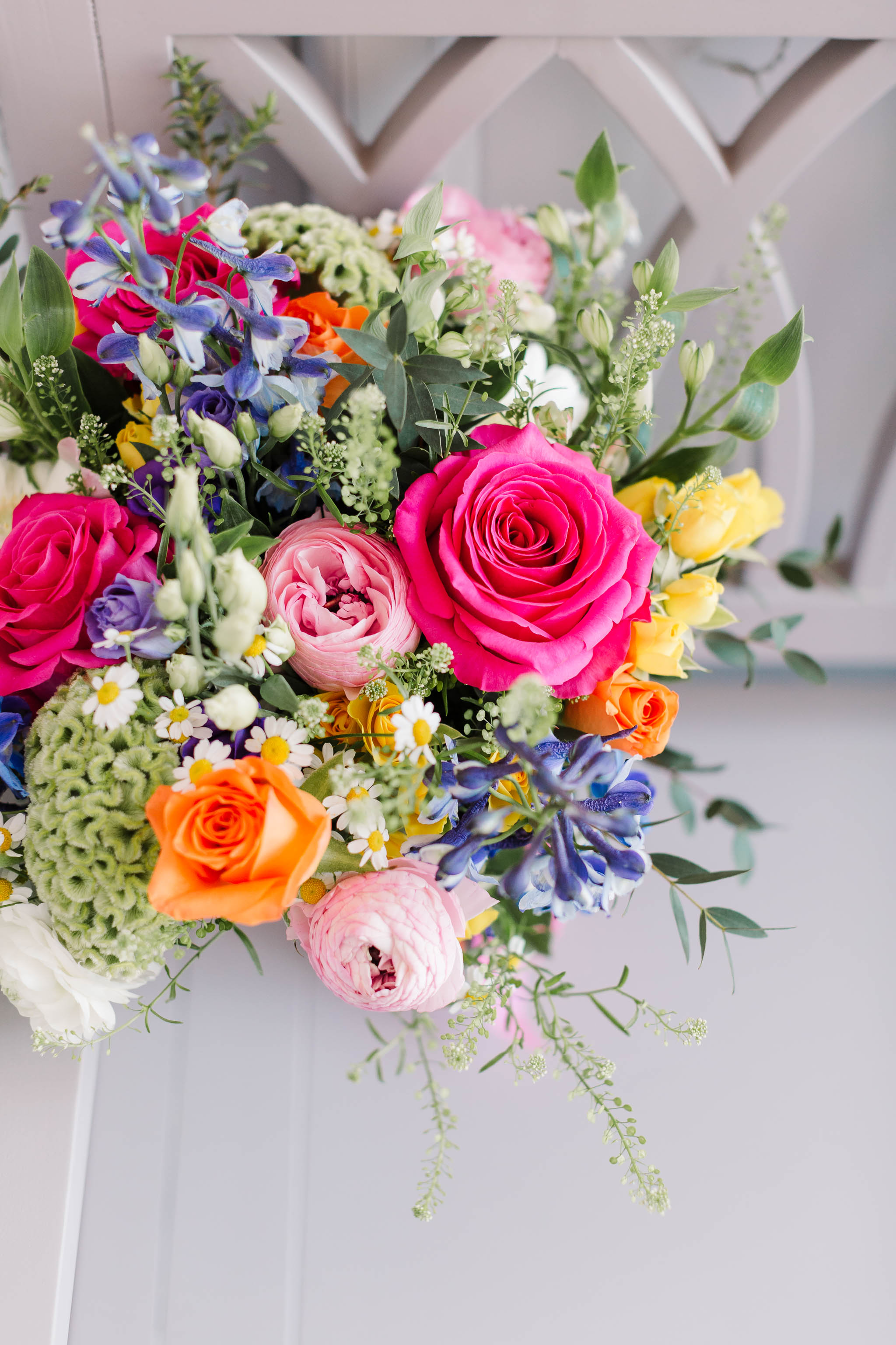 bright coloured wedding bouquet