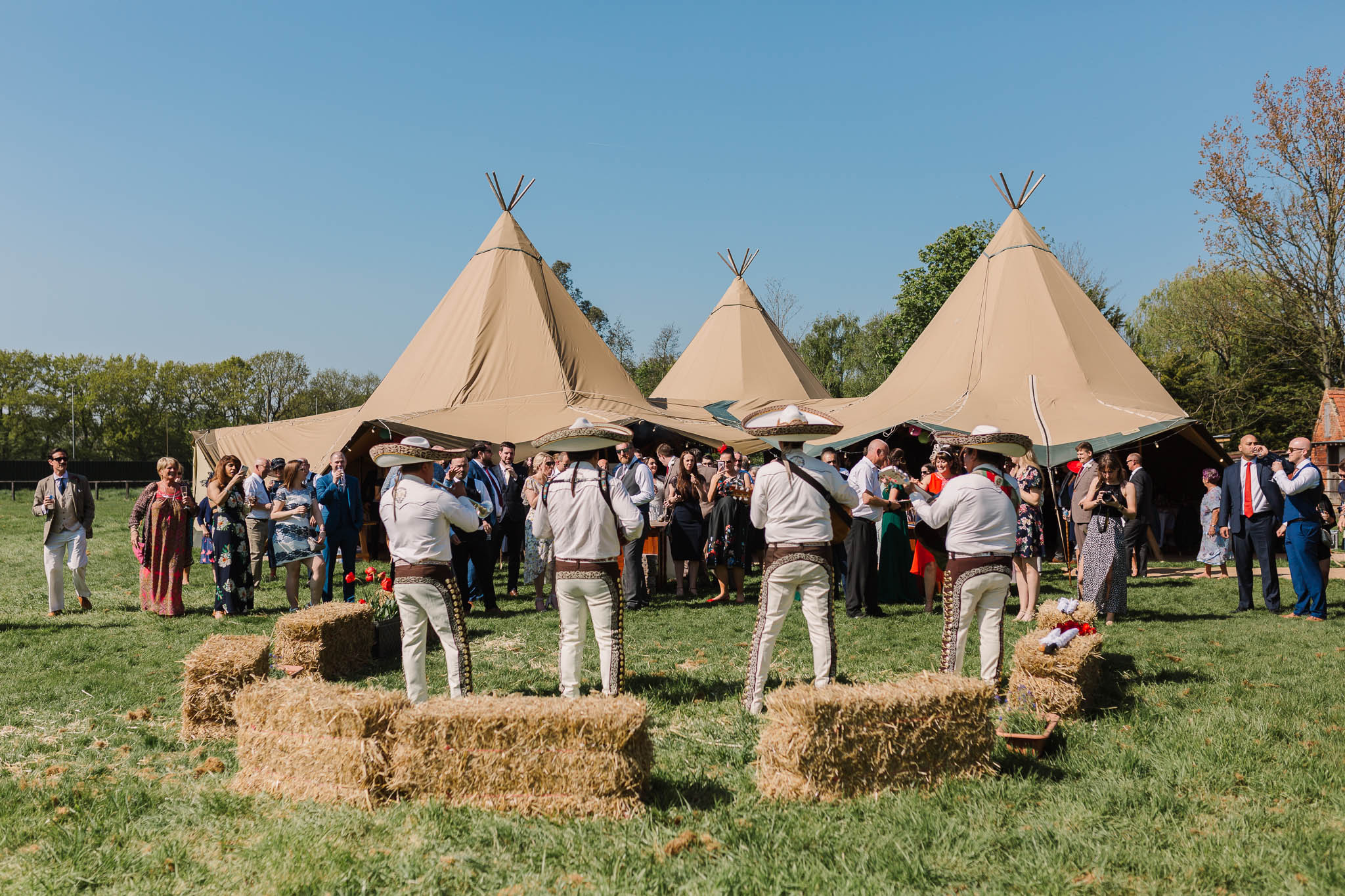 mariachi band at festival style tipi wedding