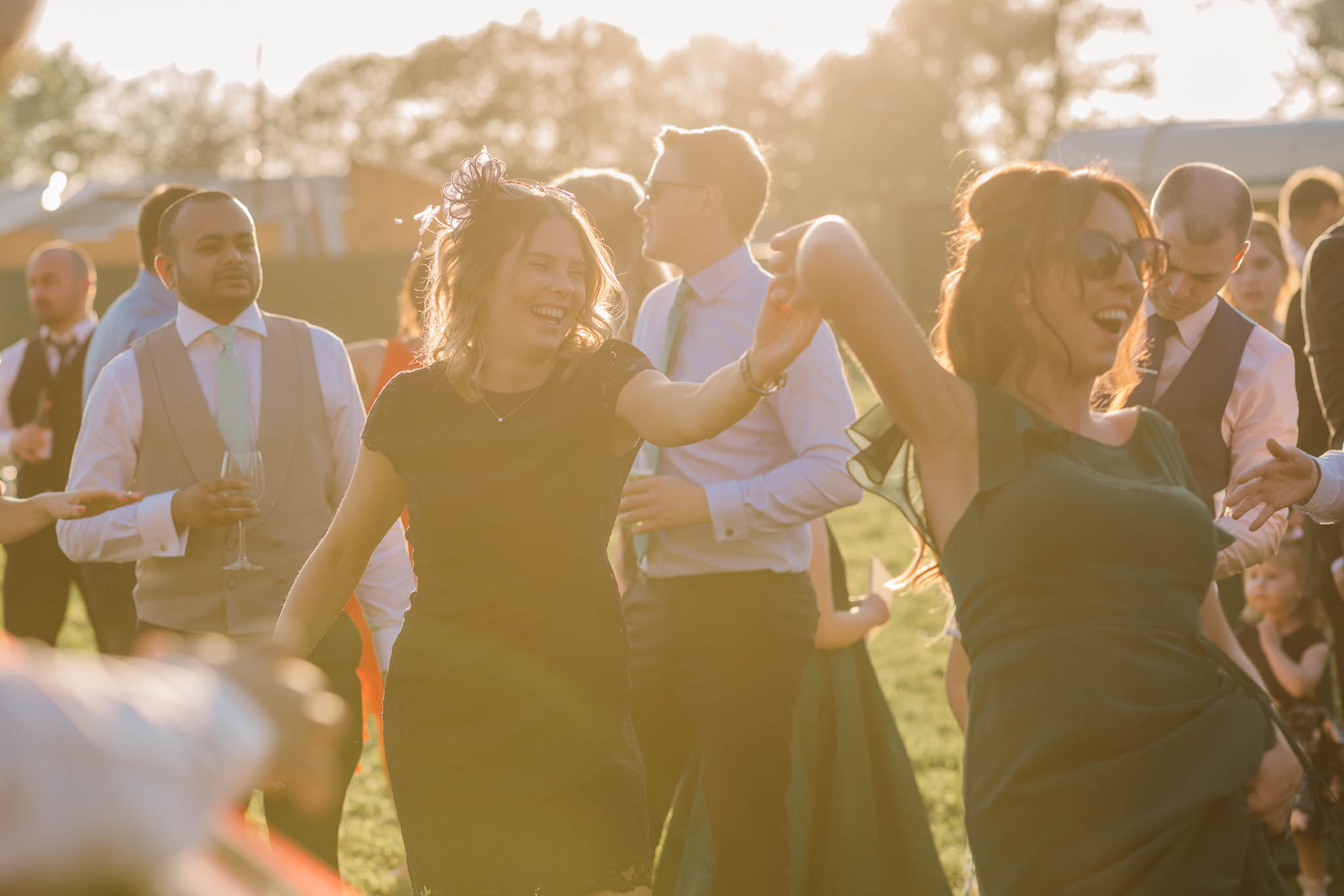 guests dancing at festival style wedding
