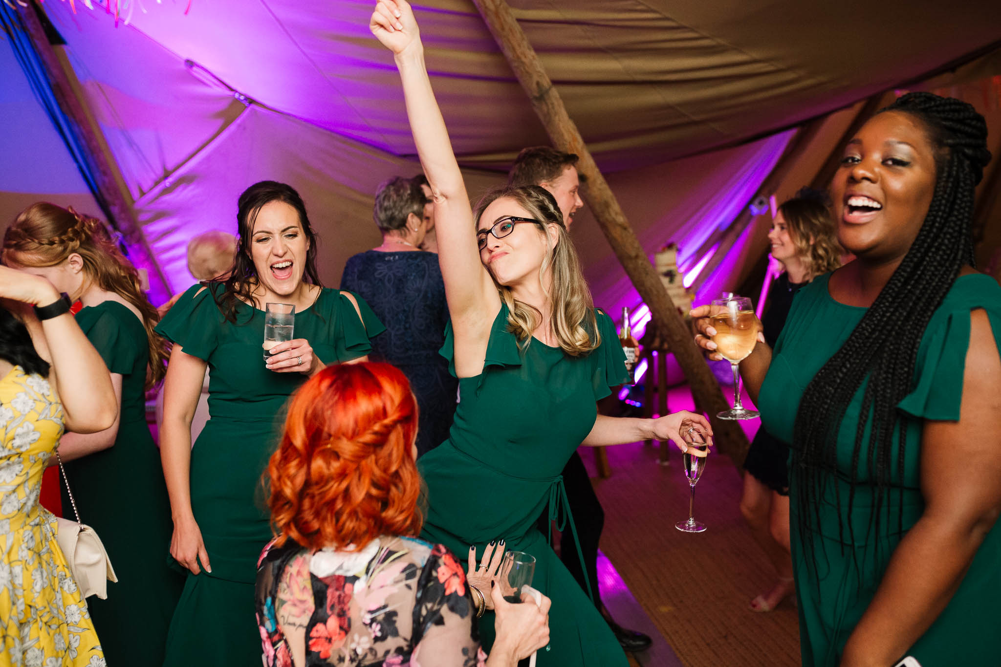 bridesmaids dancing and having fun