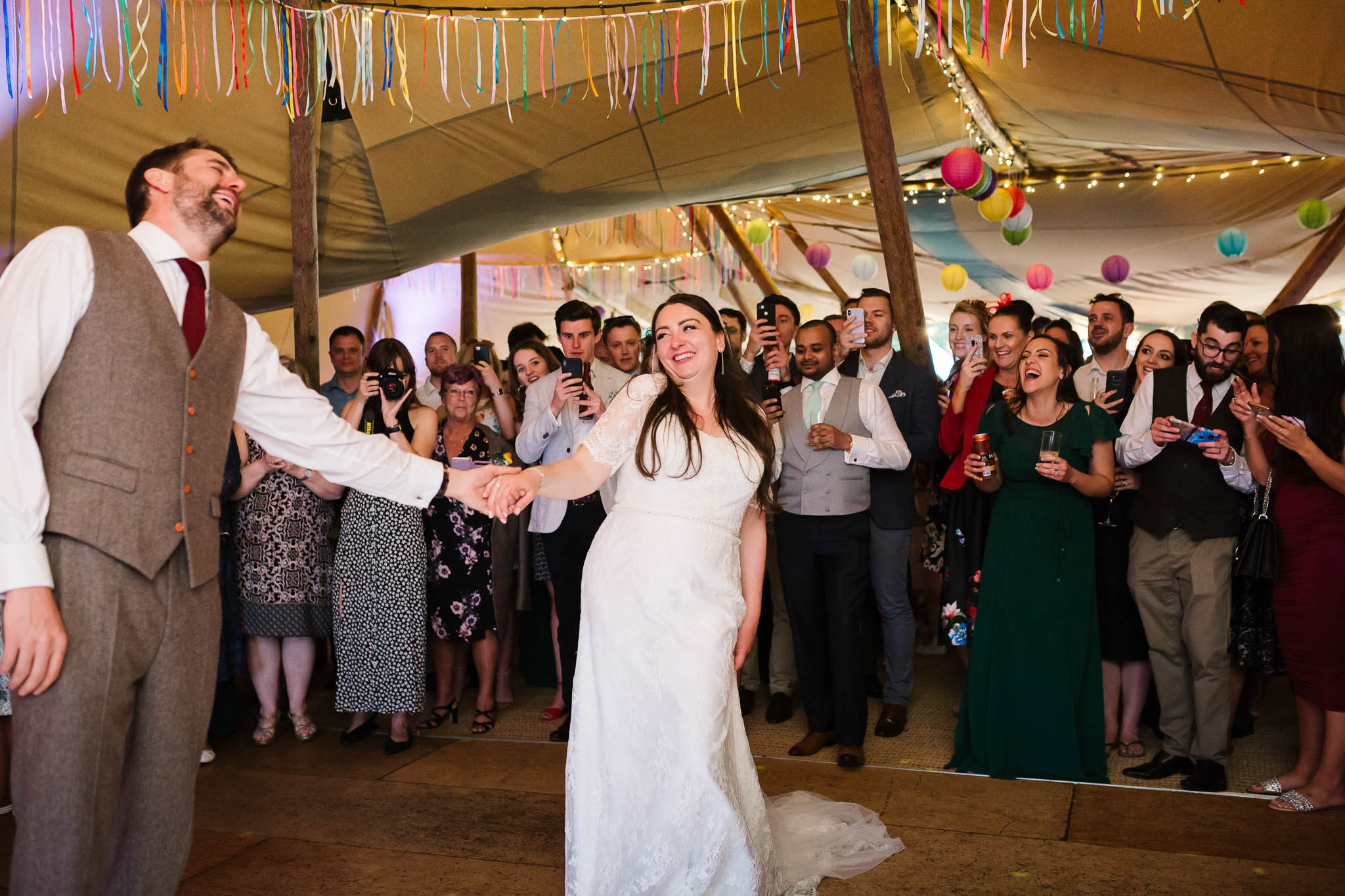 first dance at festival style tipi wedding