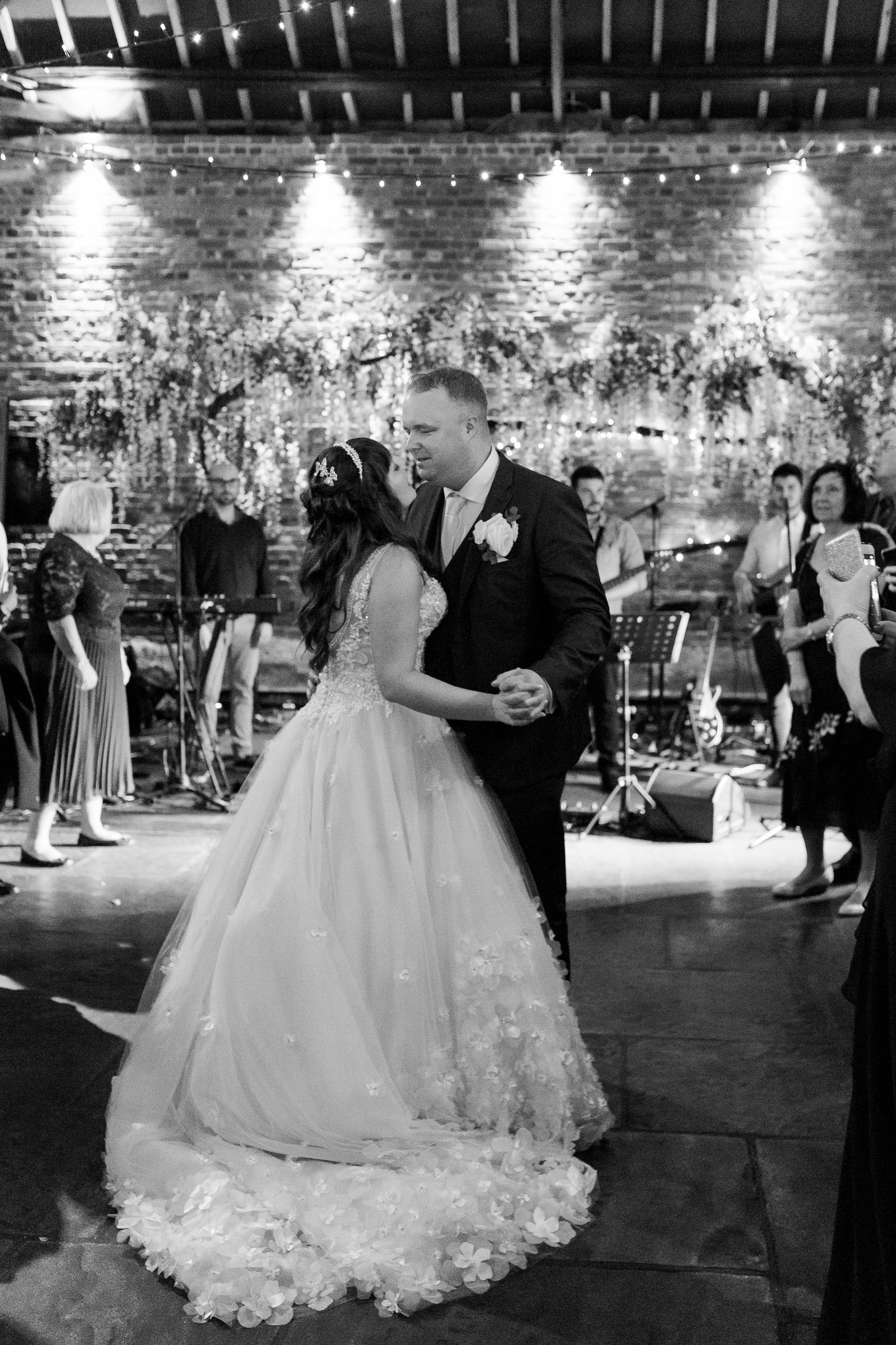 first dance at spring barn wedding