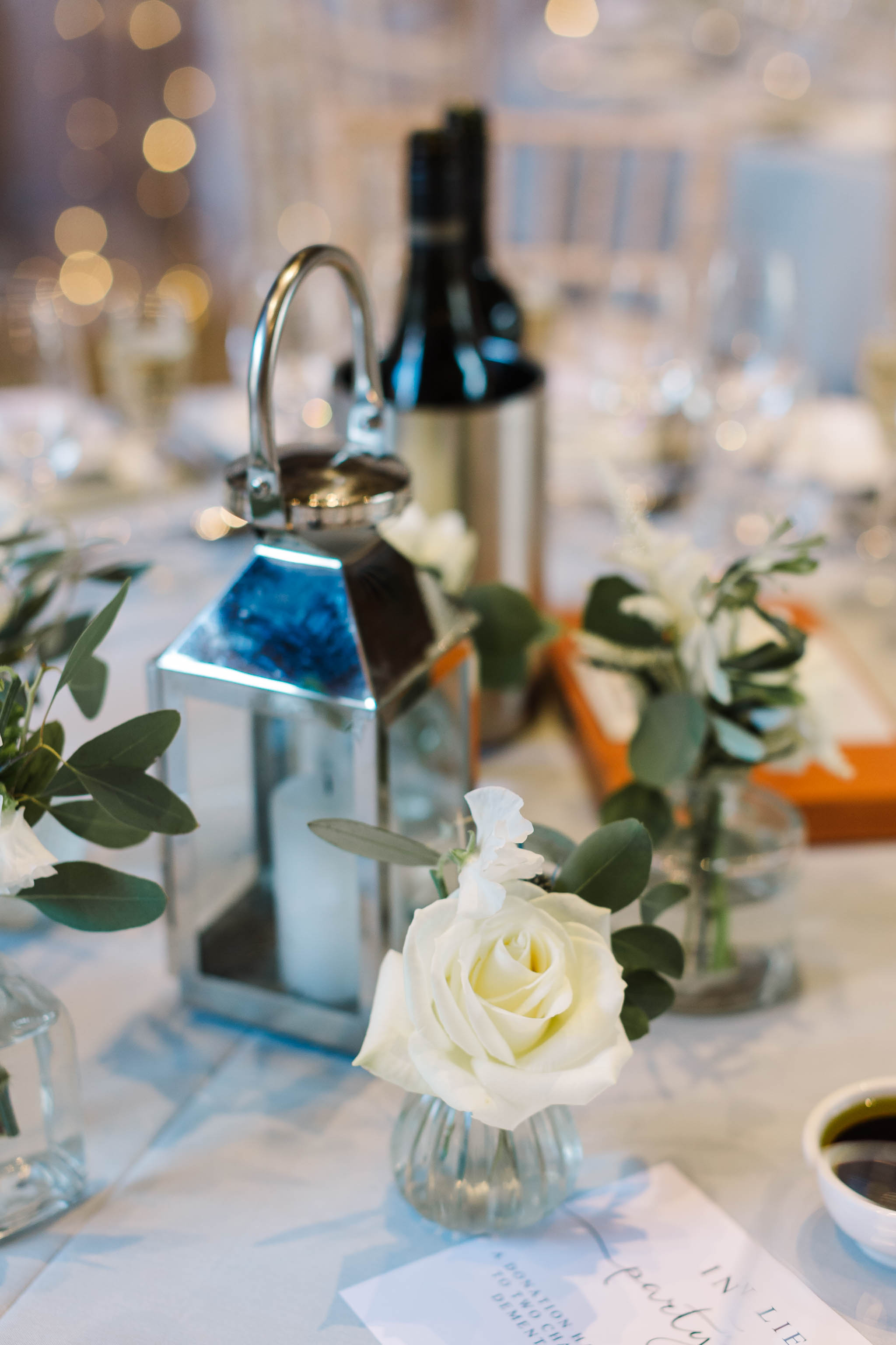 white and grey wedding decor