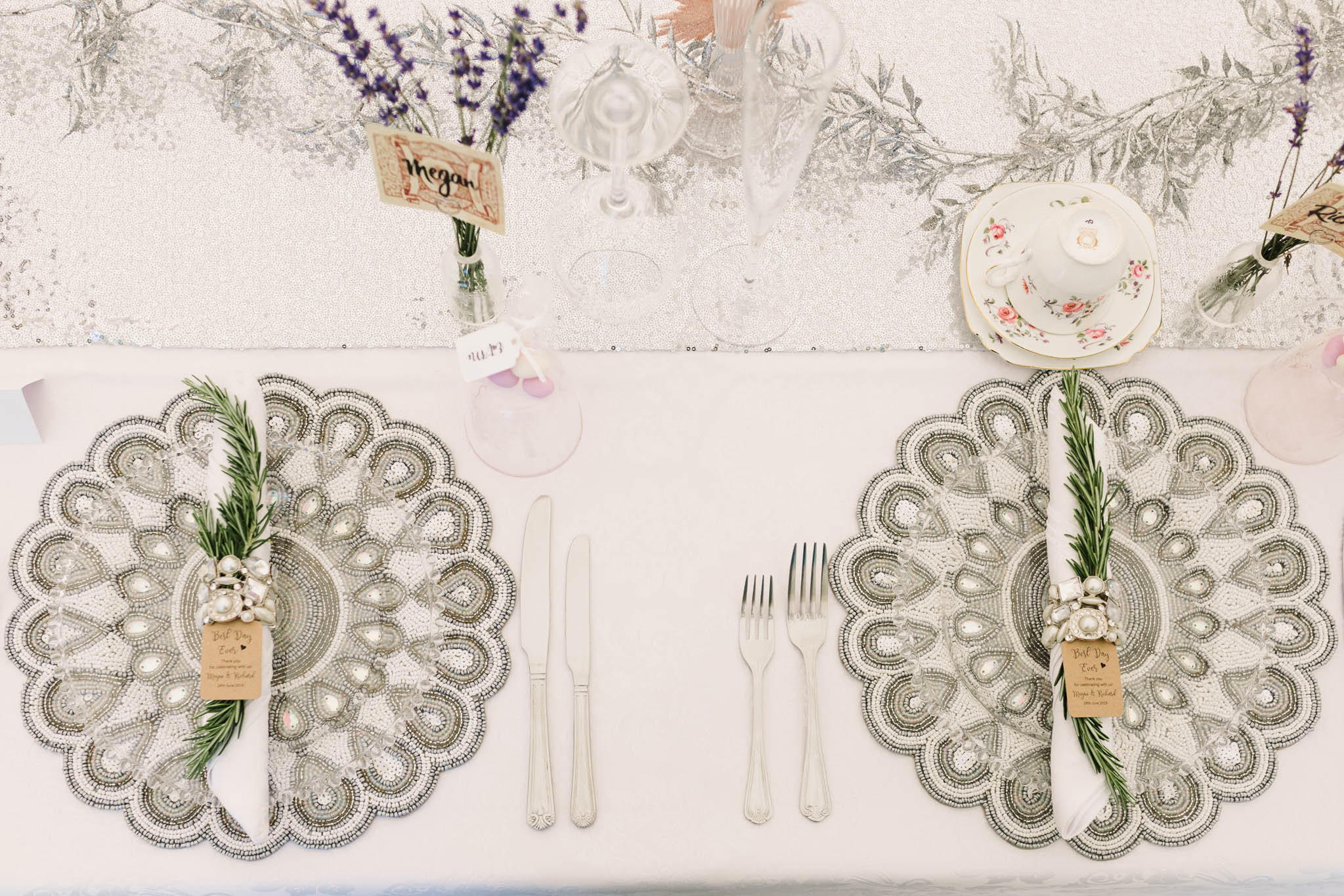 silver vintage table mats